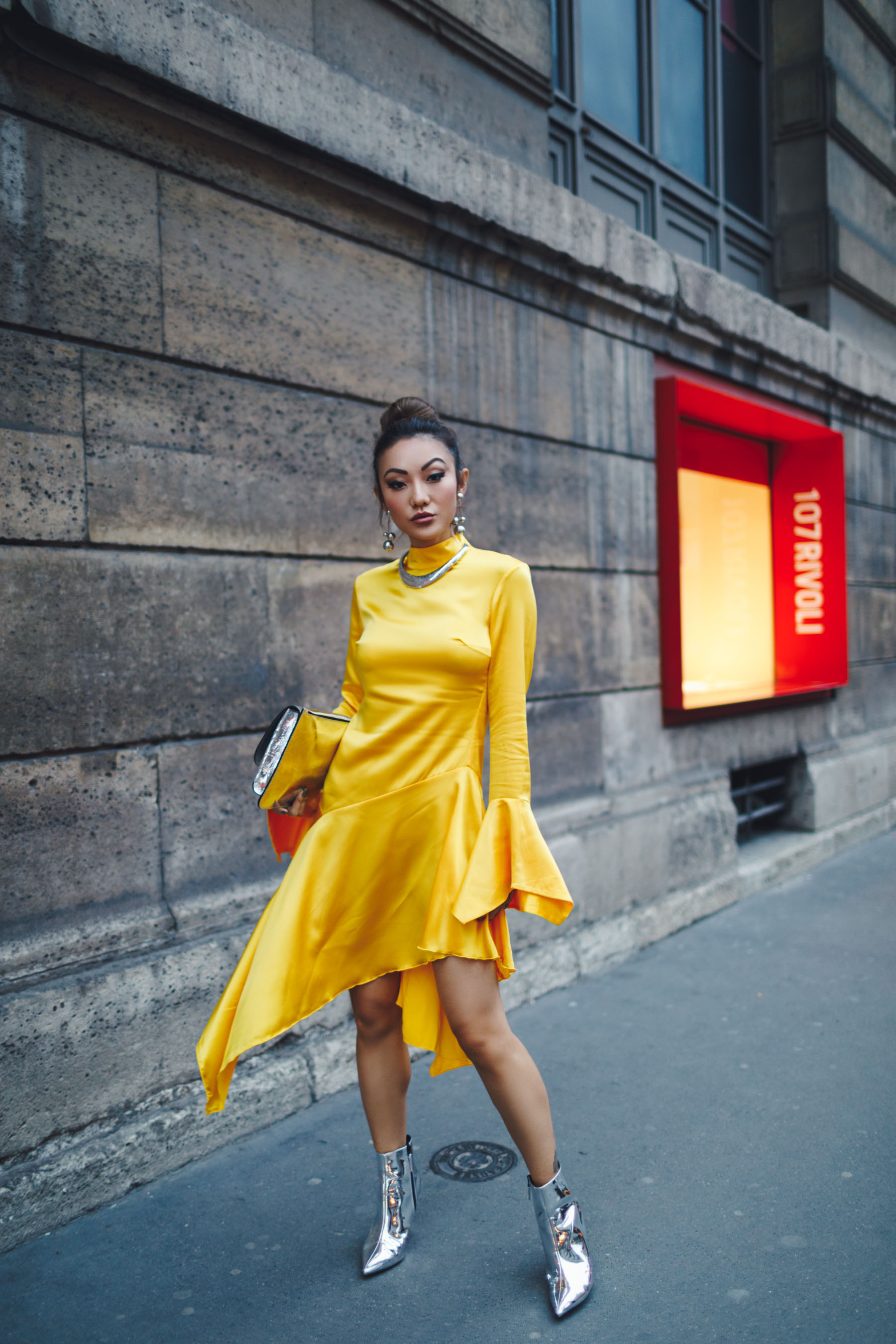 PFW Day 5 Yellow Dress & Metallic Boots // NotJessFashion.com