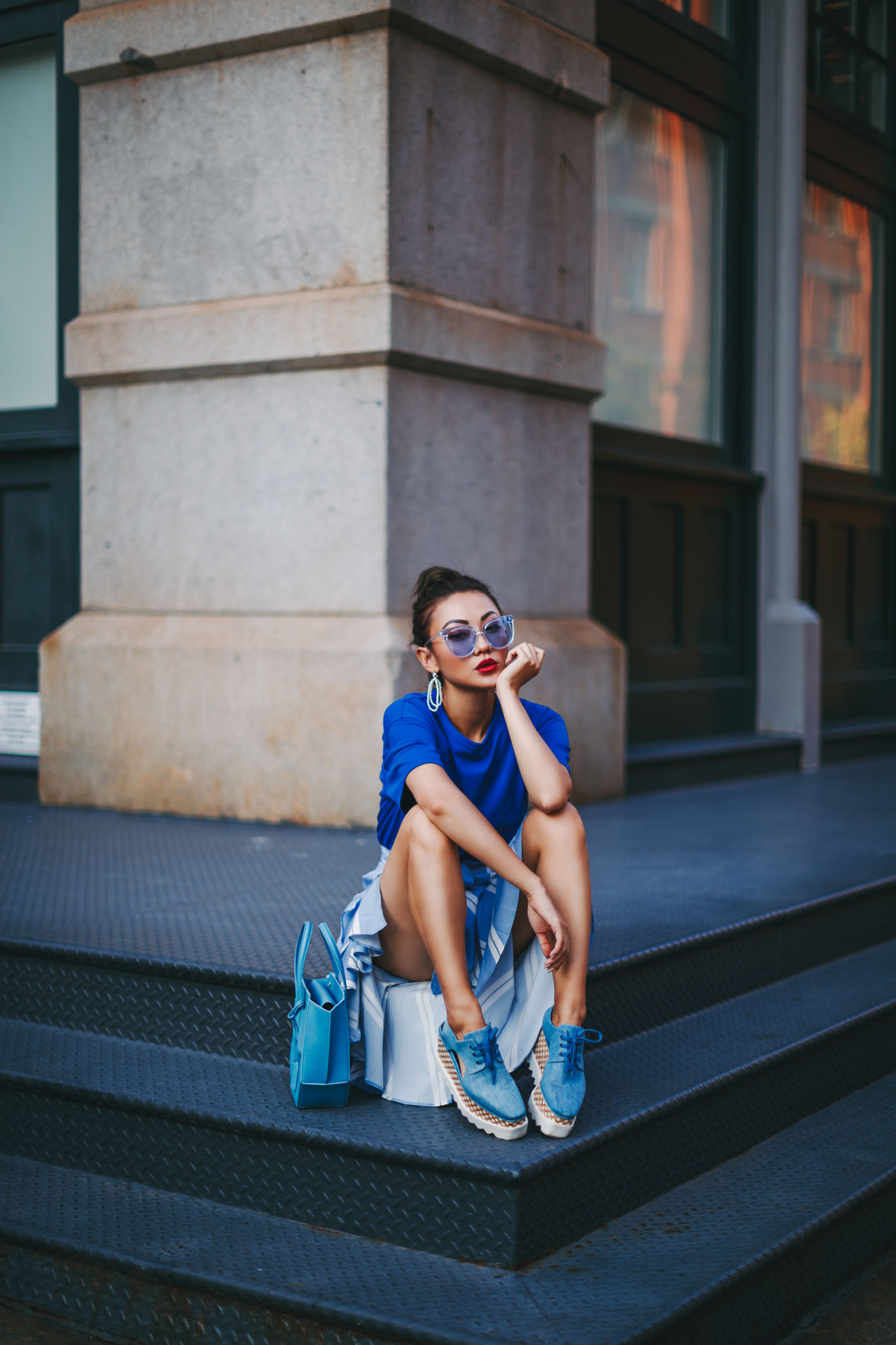 Essential Photography Tips for New Bloggers - monochrome blue outfit // NotJessFashion.com // jessica wang, new york fashion blogger, asian blogger, fashion blogger street style, street style fashion, edgy style, stella mccartney elyse, denim shoes, blue sunglasses, stella mccartney elyse denim, creeper wedges, urban fashion