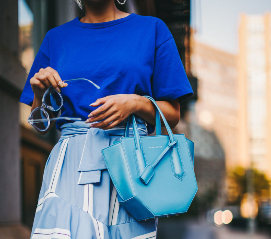 5 Must-Have Sunglasses Every It-Girl Is Wearing Now - Clear Framed Sunglasses, Blue Monochromatic Look, Geometric Handbag, Blue Clear Frame Sunglasses, Blue Stripe Ruffle Skirts, Streetstyle, Jessica Wang // NotJessFashion.com
