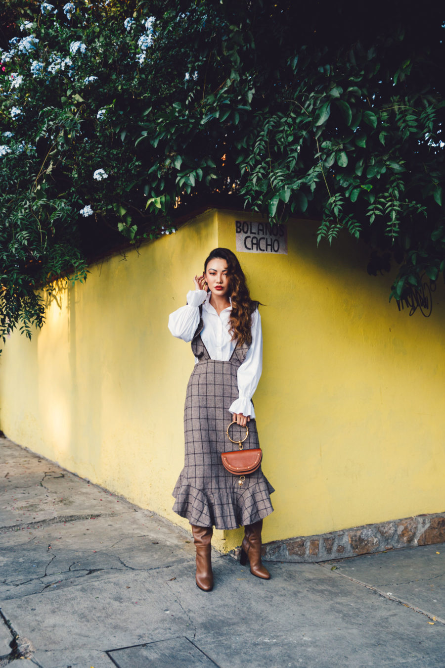 How to build the perfect fall wardrobe on a budget, Brown Ruffle Plaid Dress with Ruffle Blouse // Notjessfashion.com