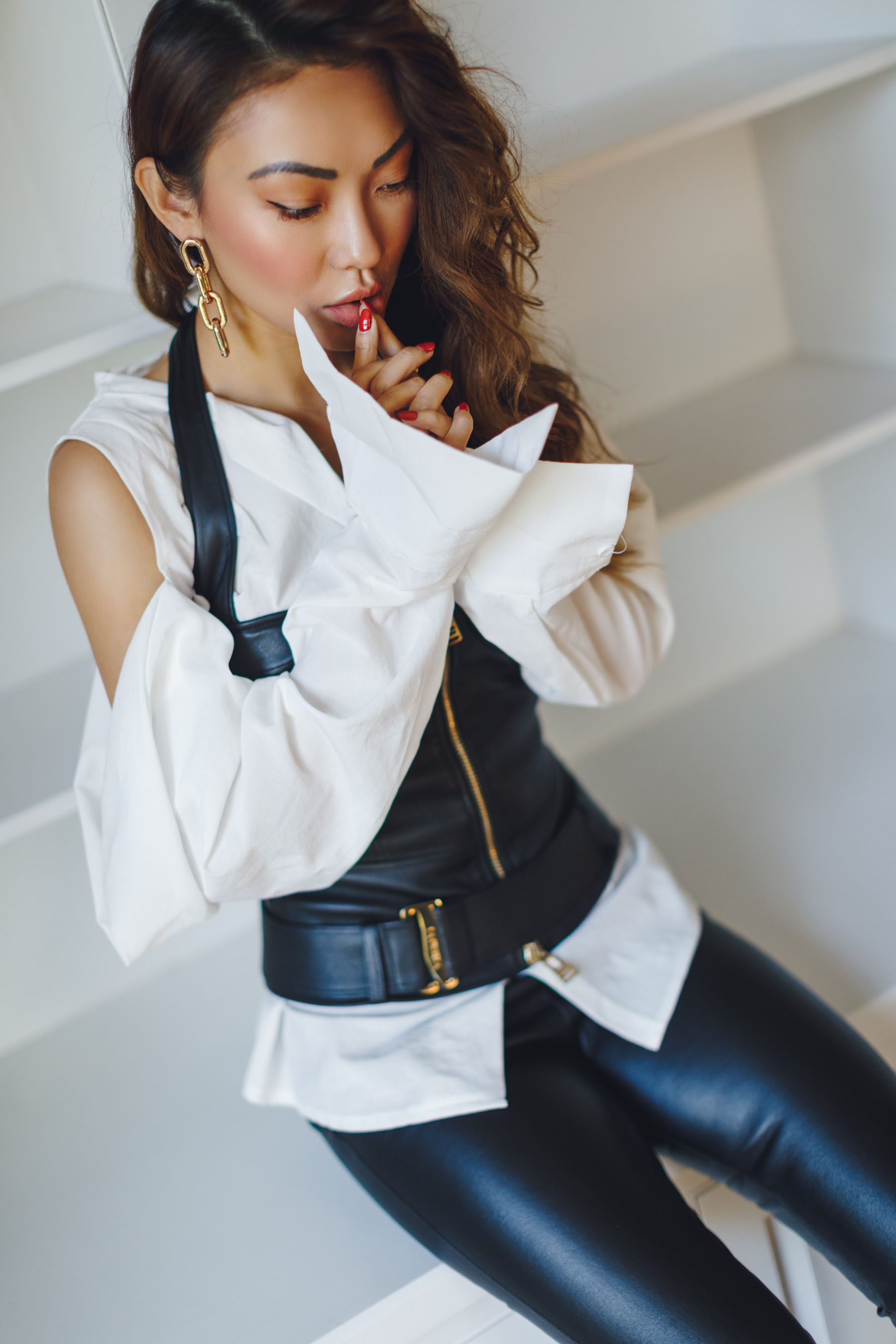 La Perla Leather Corset with Cut Out Blouse // Notjessfashion.com
