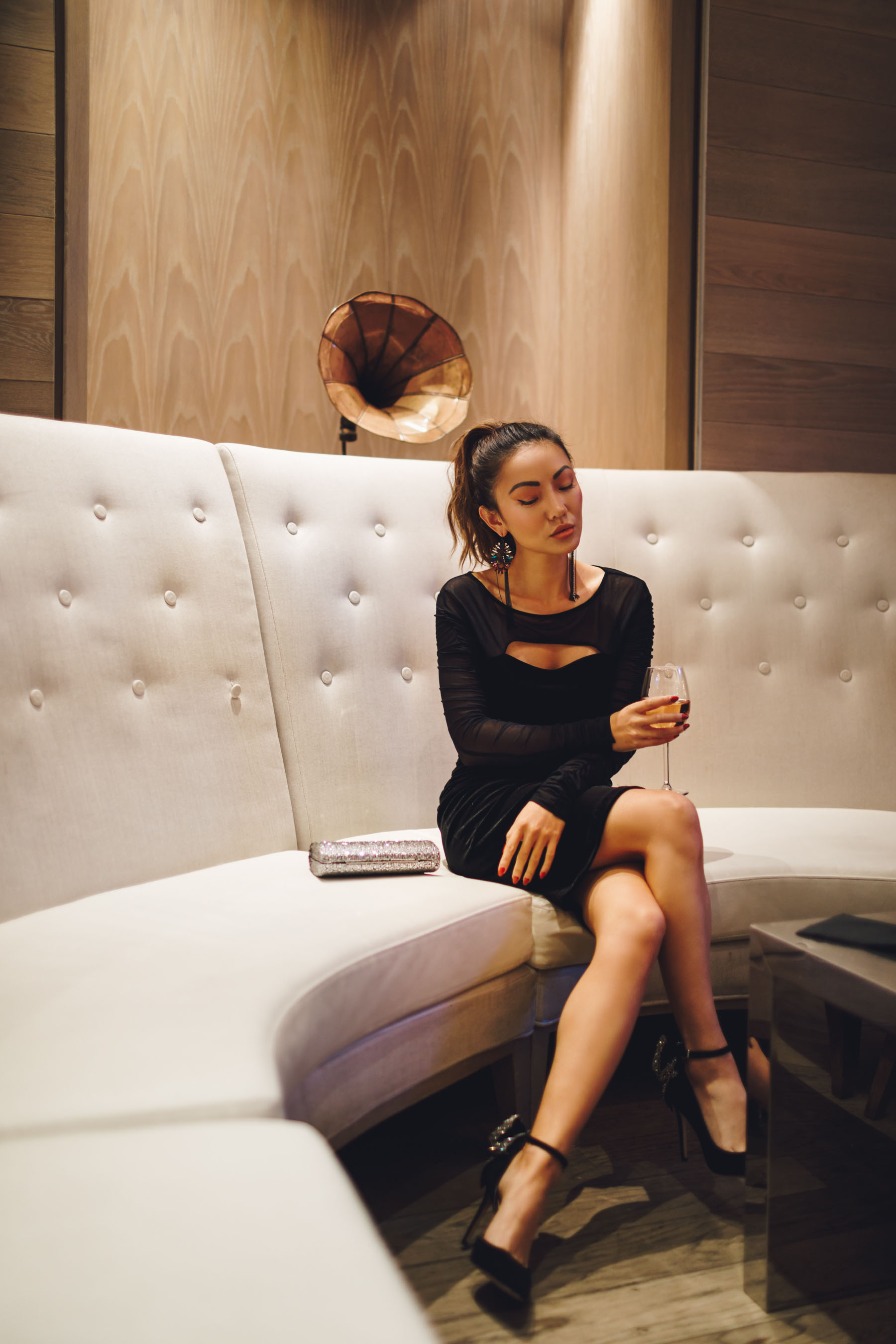Velvet Little Black Dress with Sheer Sleeves and Cutouts // Notjessfashion