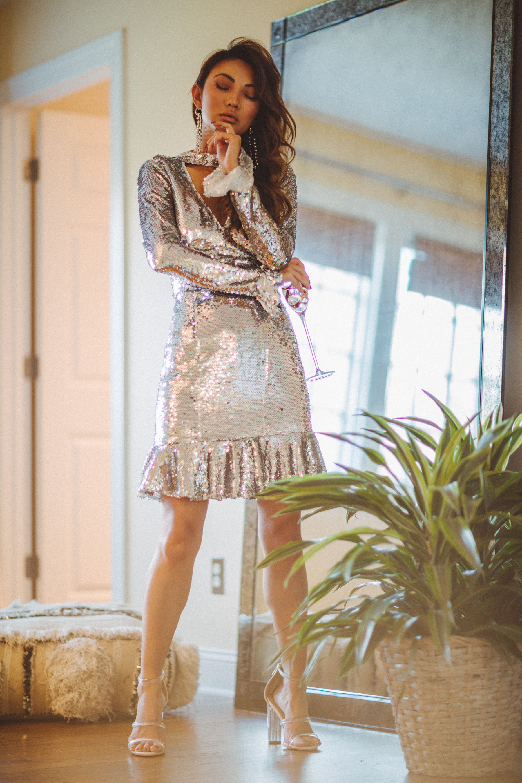 Sequin Silver Dress with Fluted Sleeves and Ruffles // Notjessfashion.com