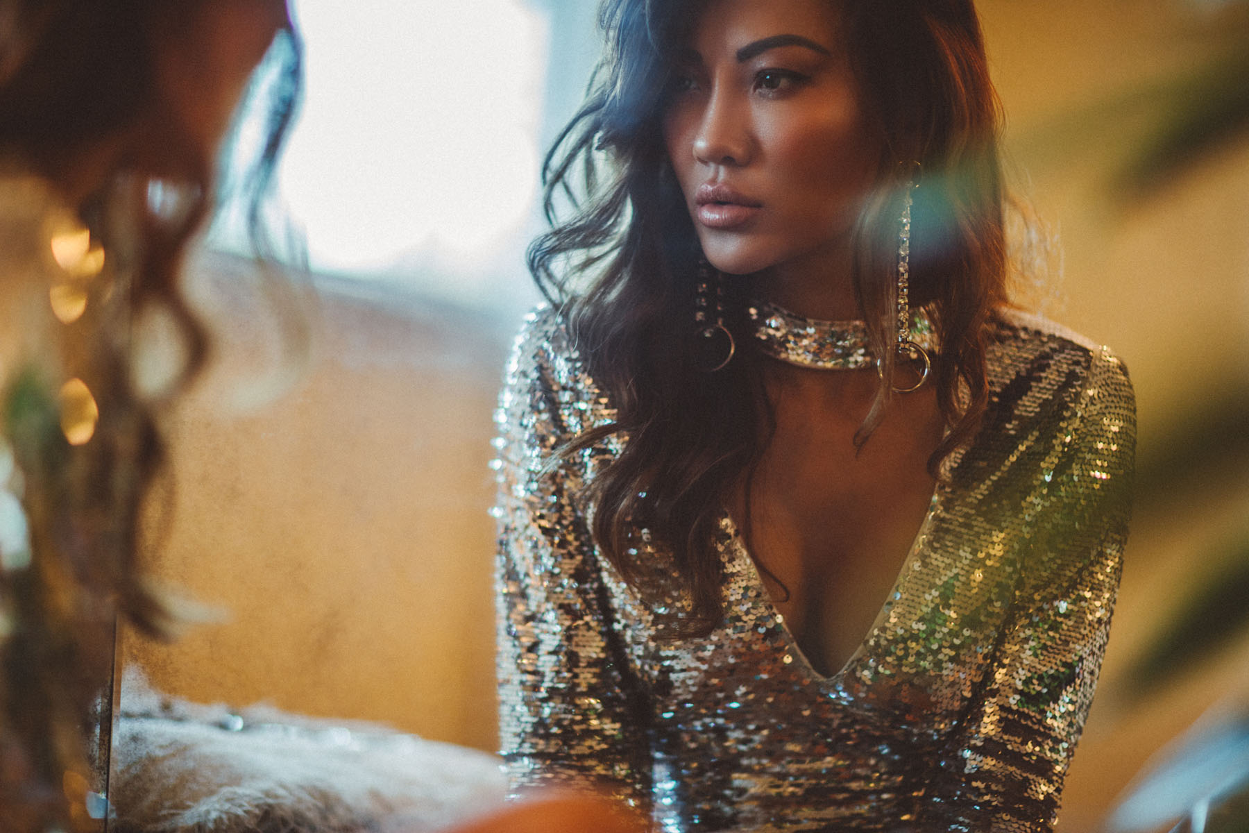 Metallic Must-Have Pieces - Sequin Silver Dress with Statement Earrings // Notjessfashion.com