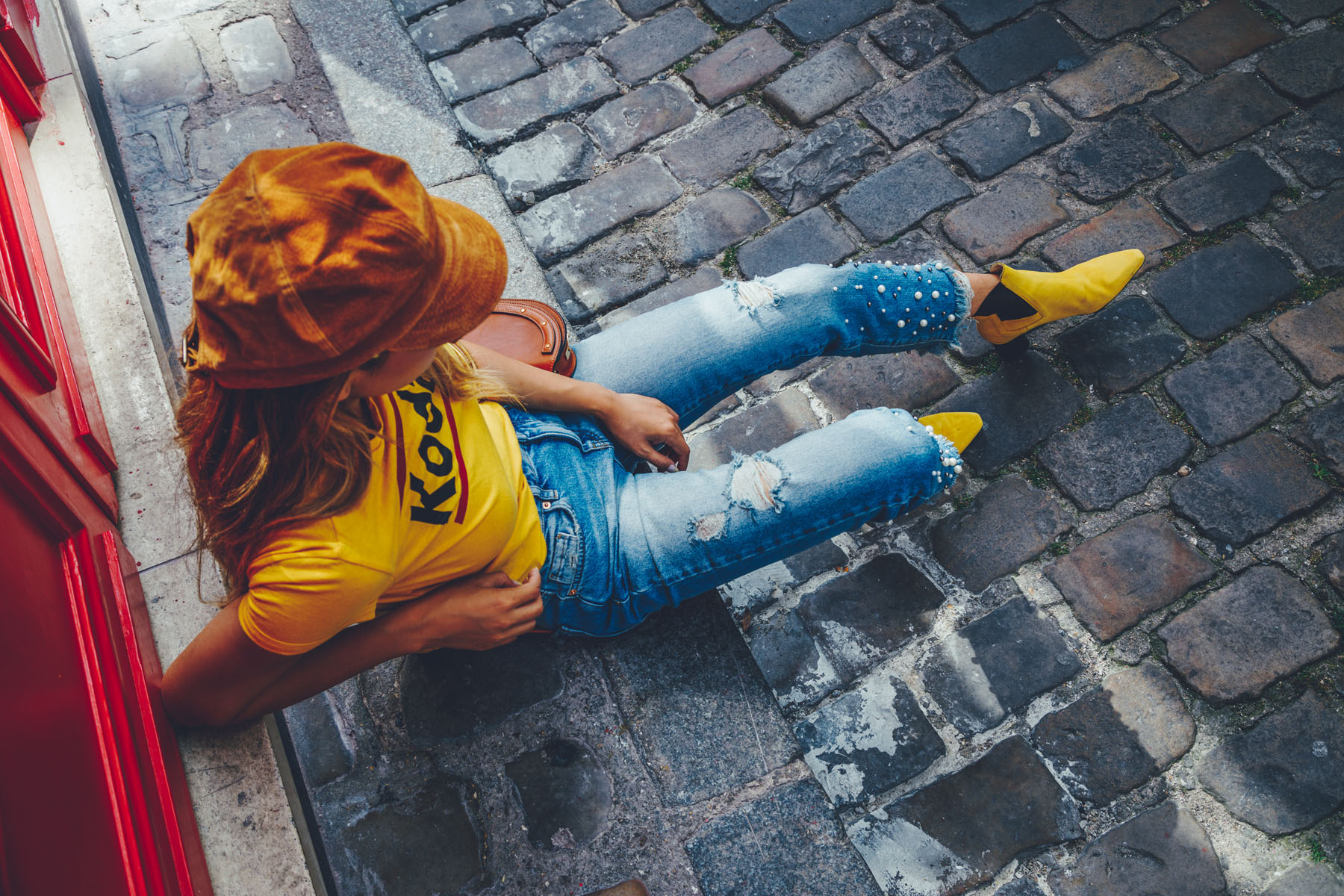 Frayed Pearl Jeans with Vintage Kodak Tee and Newboy Cap // Notjessfashion.com