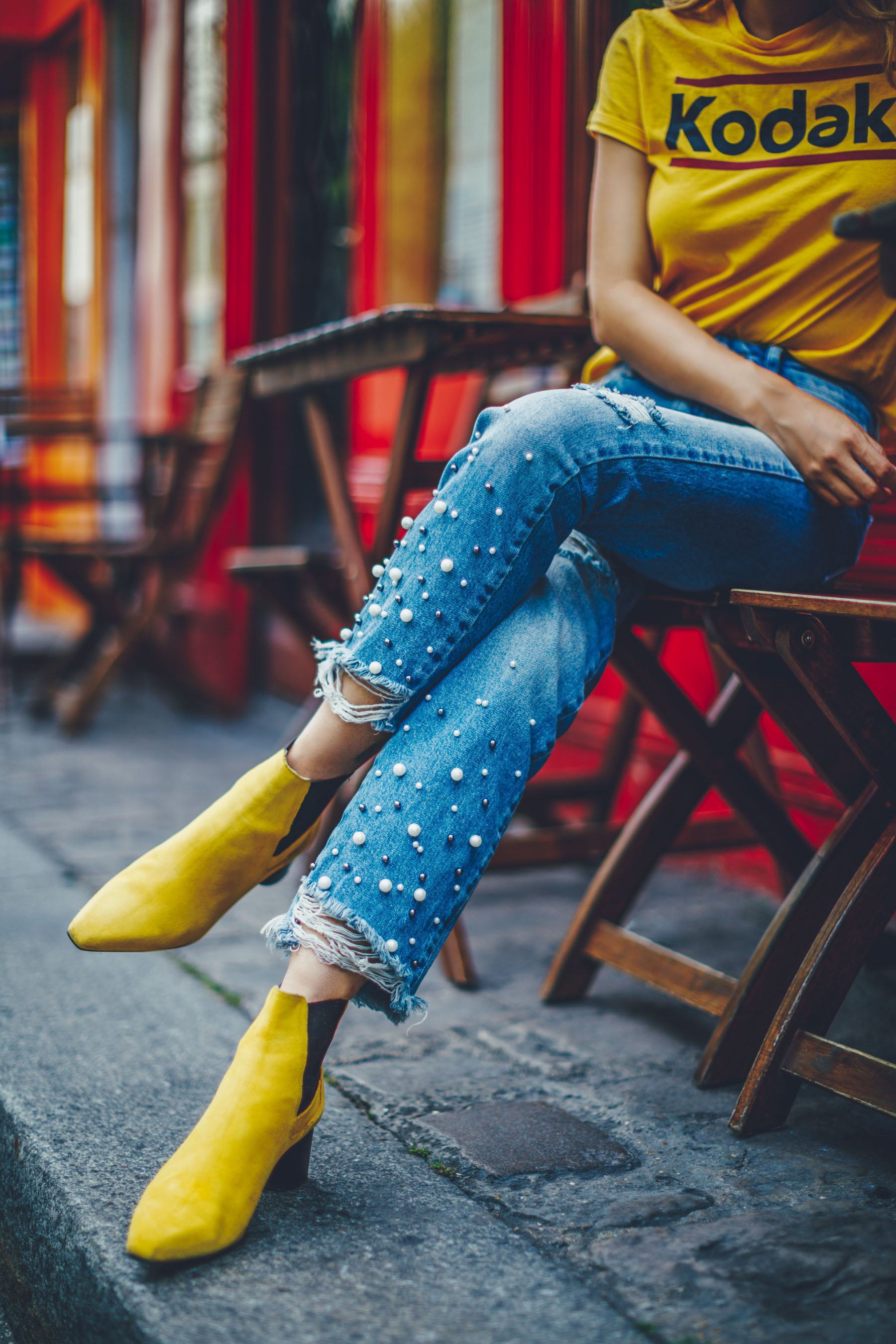 Frayed Pearl Jeans with Yellow Booties // Notjessfashion.com