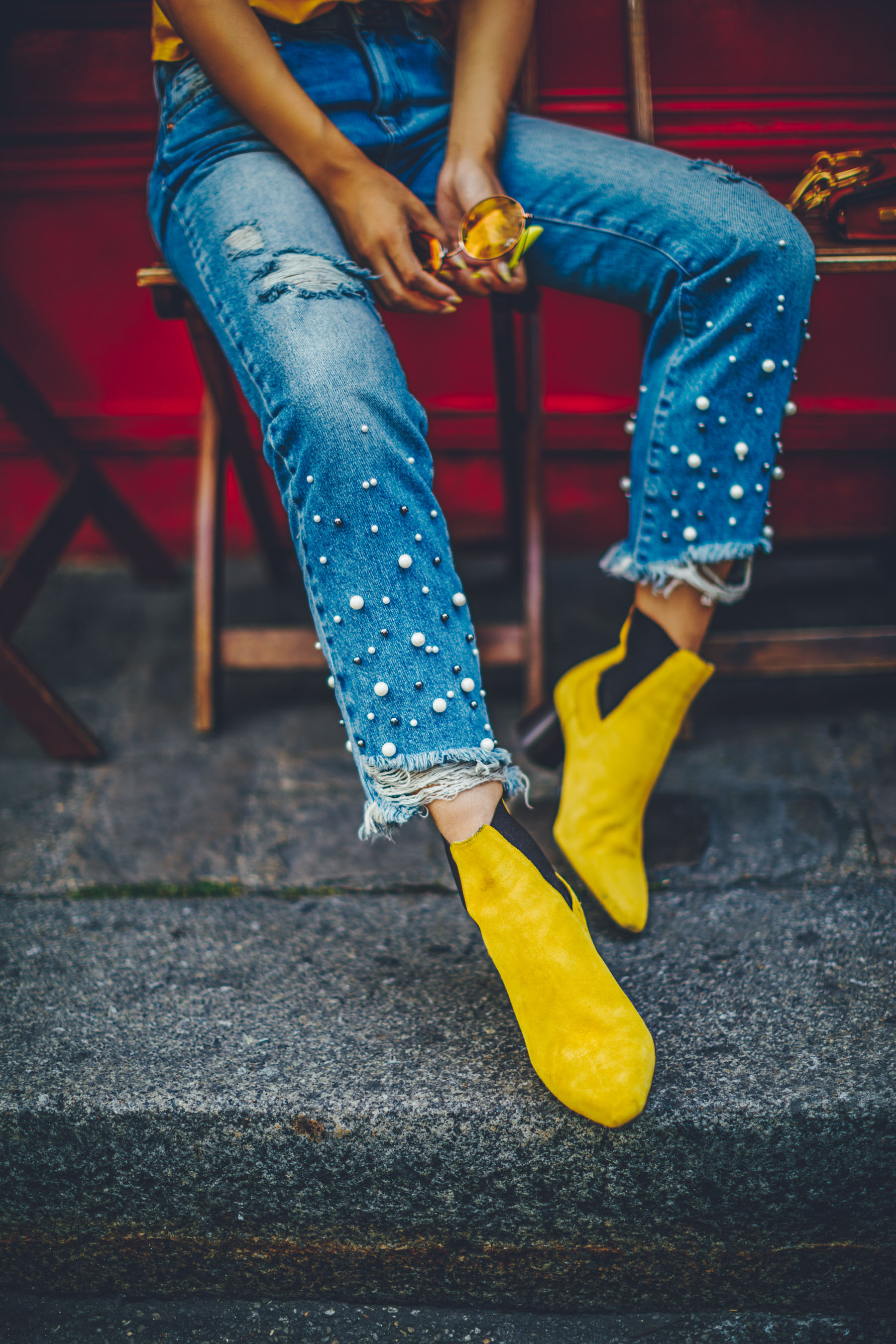 Ways to Wear Pearls - Distressed Pearl Jeans with Yellow Ankle Boots // Notjessfashion.com