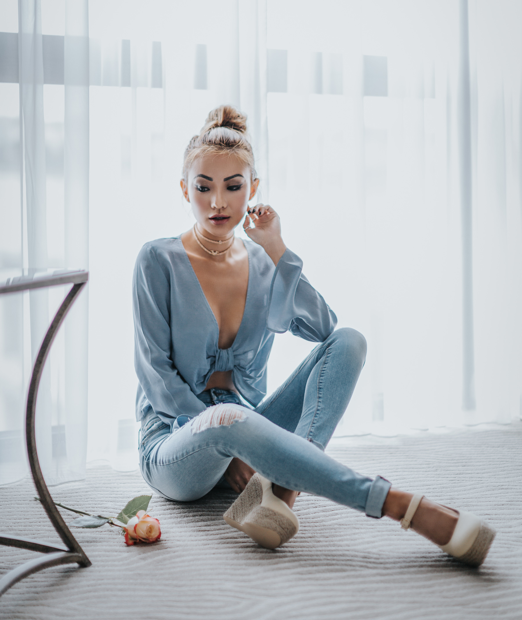 Pieces That Will Make You Look More Expensive - Light Blue Silk Blouse With Jeans // Notjessfashion.com