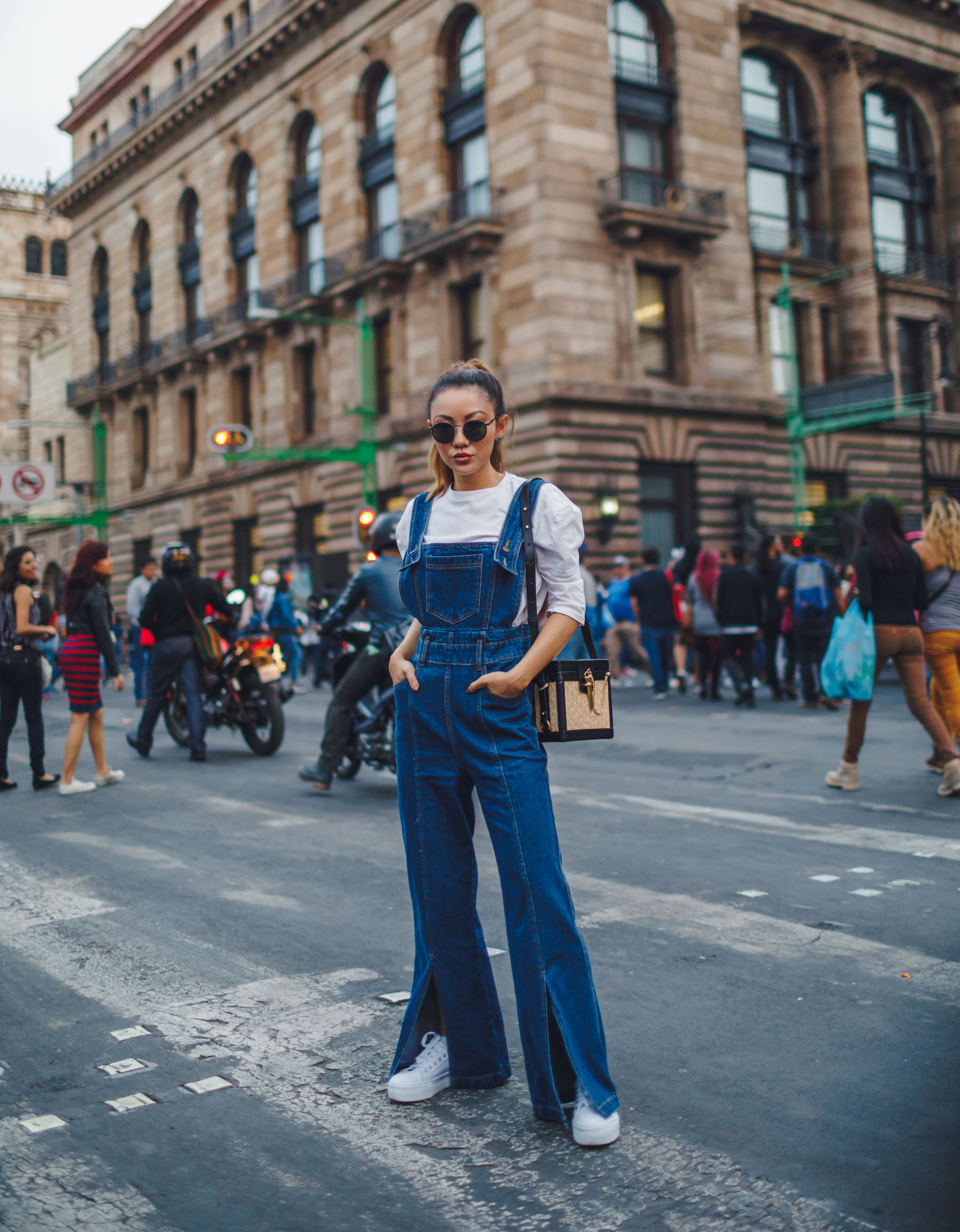 Instagram Hot Spots in Mexico City - Flare Denim Overalls White Sweater // Notjessfashion.com