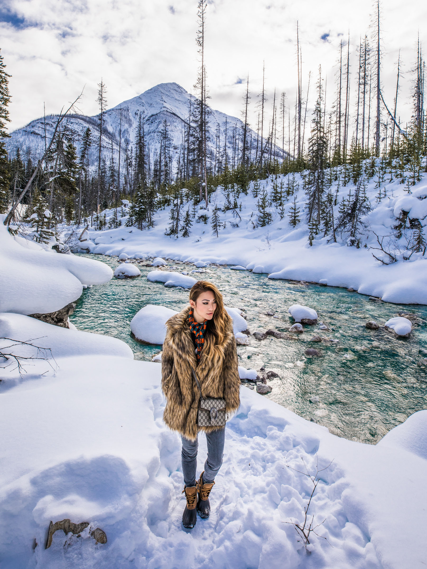 Banff Travel Guide - Brown Fur Coat with Ski Boots and Plaid Scarf // Notjessfashion.com