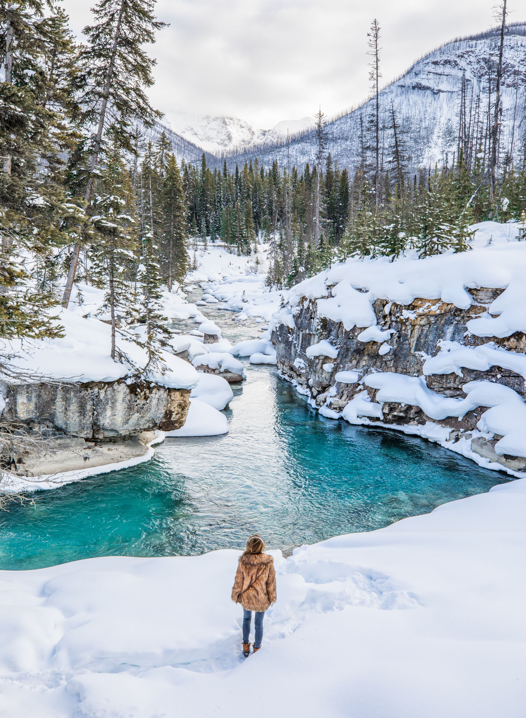 Banff Travel Guide - Brown Fur Coat with Ski Boots and Earmuffs // Notjessfashion.com