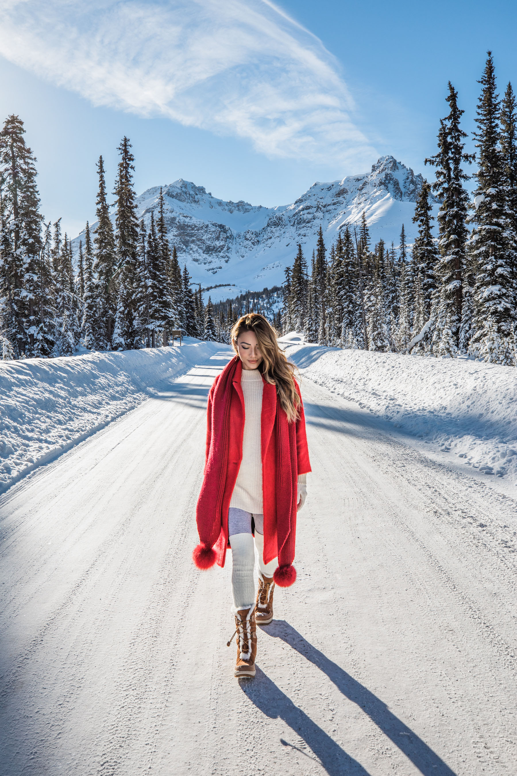 Banff Travel Guide - Red Coat with Pom Pom Scarf and Snow Boots // Notjessfashion.com