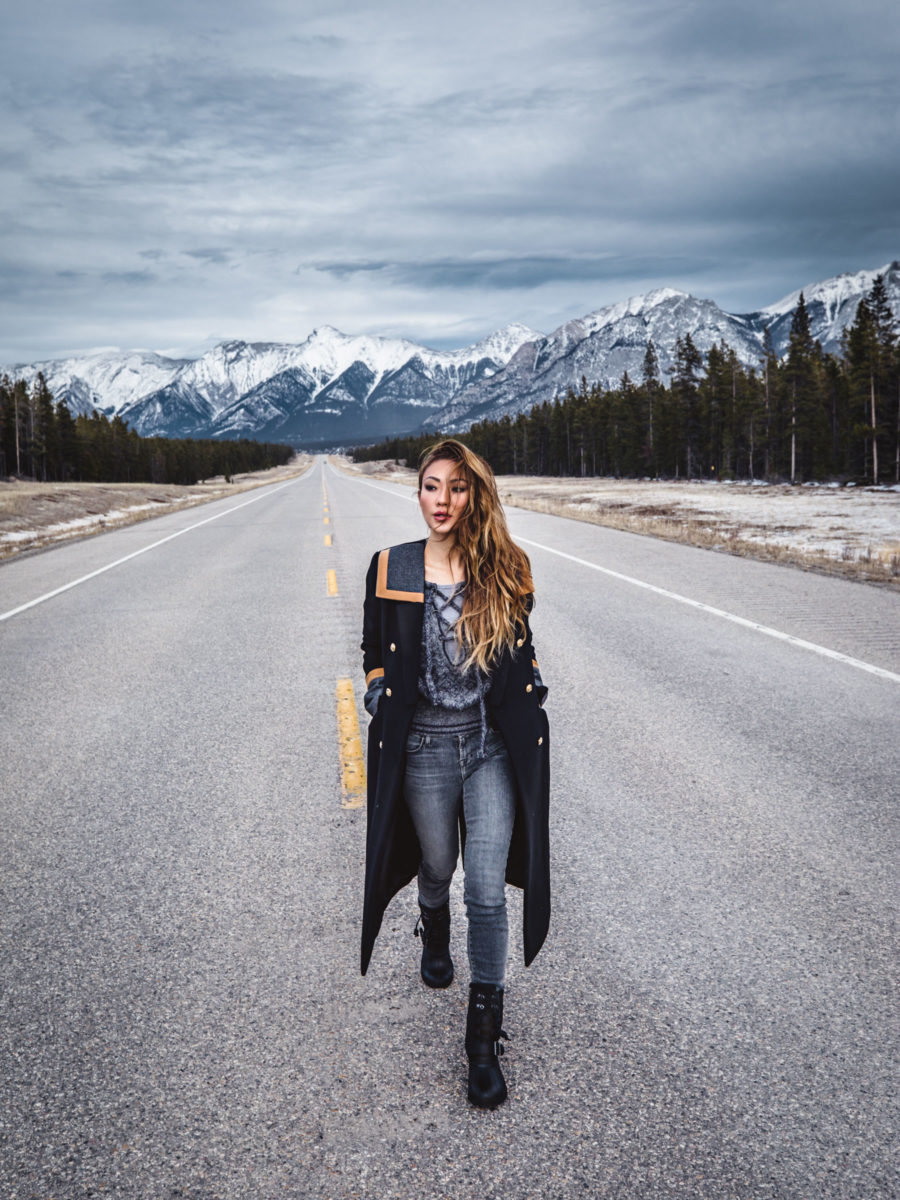 Banff Travel Guide - Black and Gray Casual Winter Outfit with Maxi Coat and Snow Boots // Notjessfashion.com