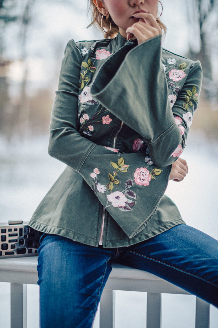 Embroidered Military Jacket Outfit // NotJessFashion.com