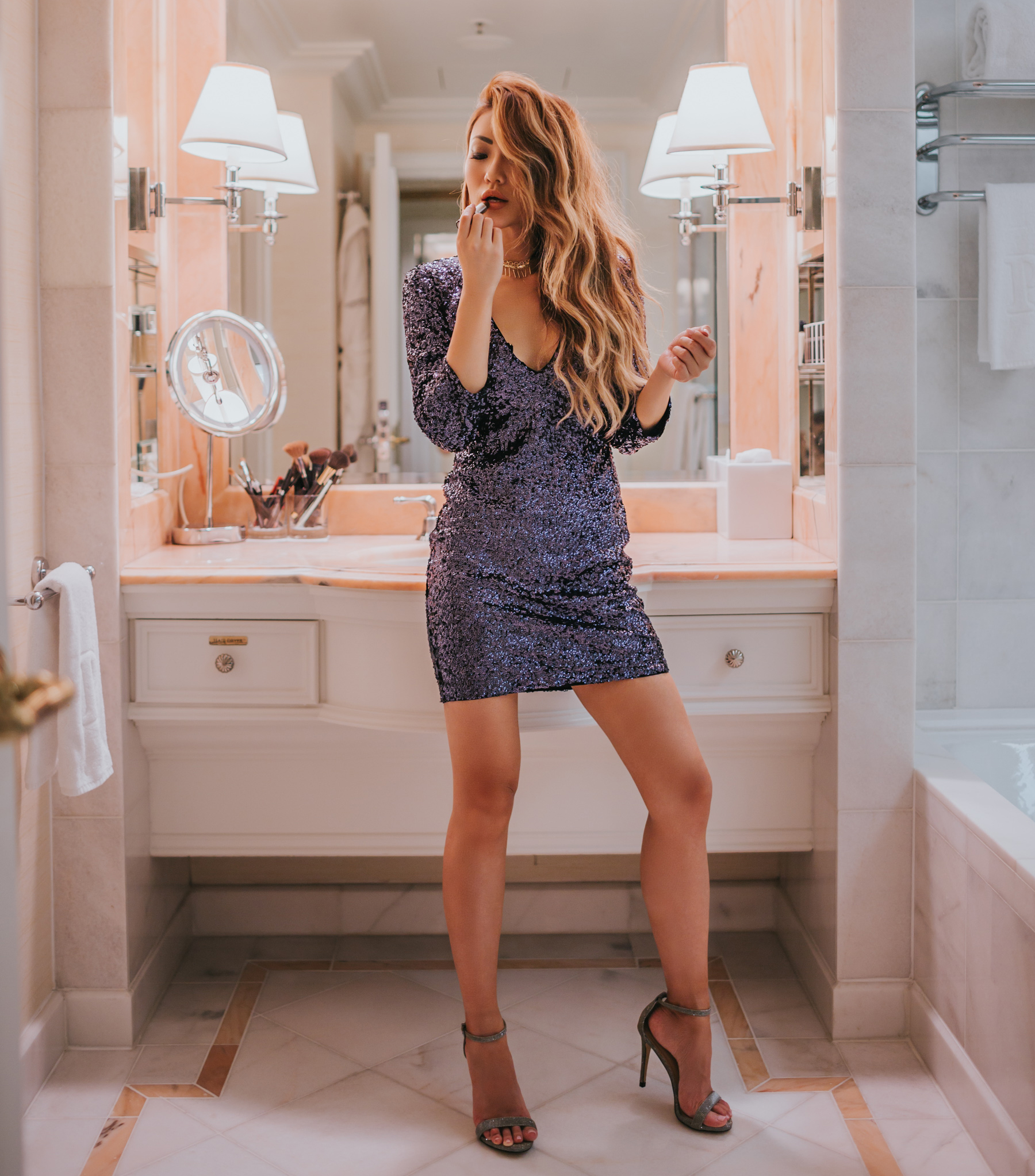 Dresses to Ring in 2018 - New Years Eve NYE Sequin V-neck mini party dress // notjessfashion.com