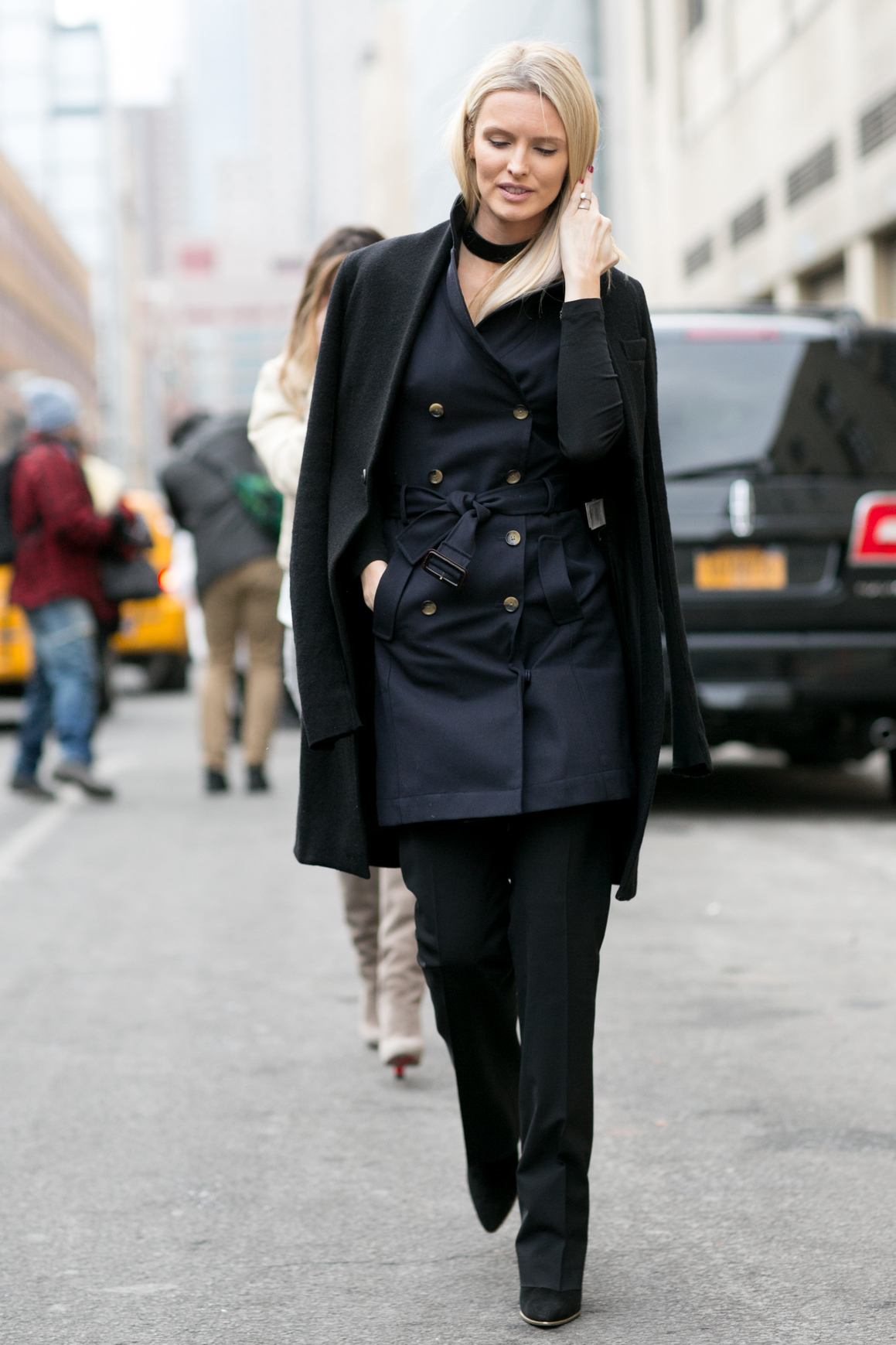 Make Work Wear More Appealing in the Winter - Navy Trench Coat with Over Coat // Notjessfashion.com
