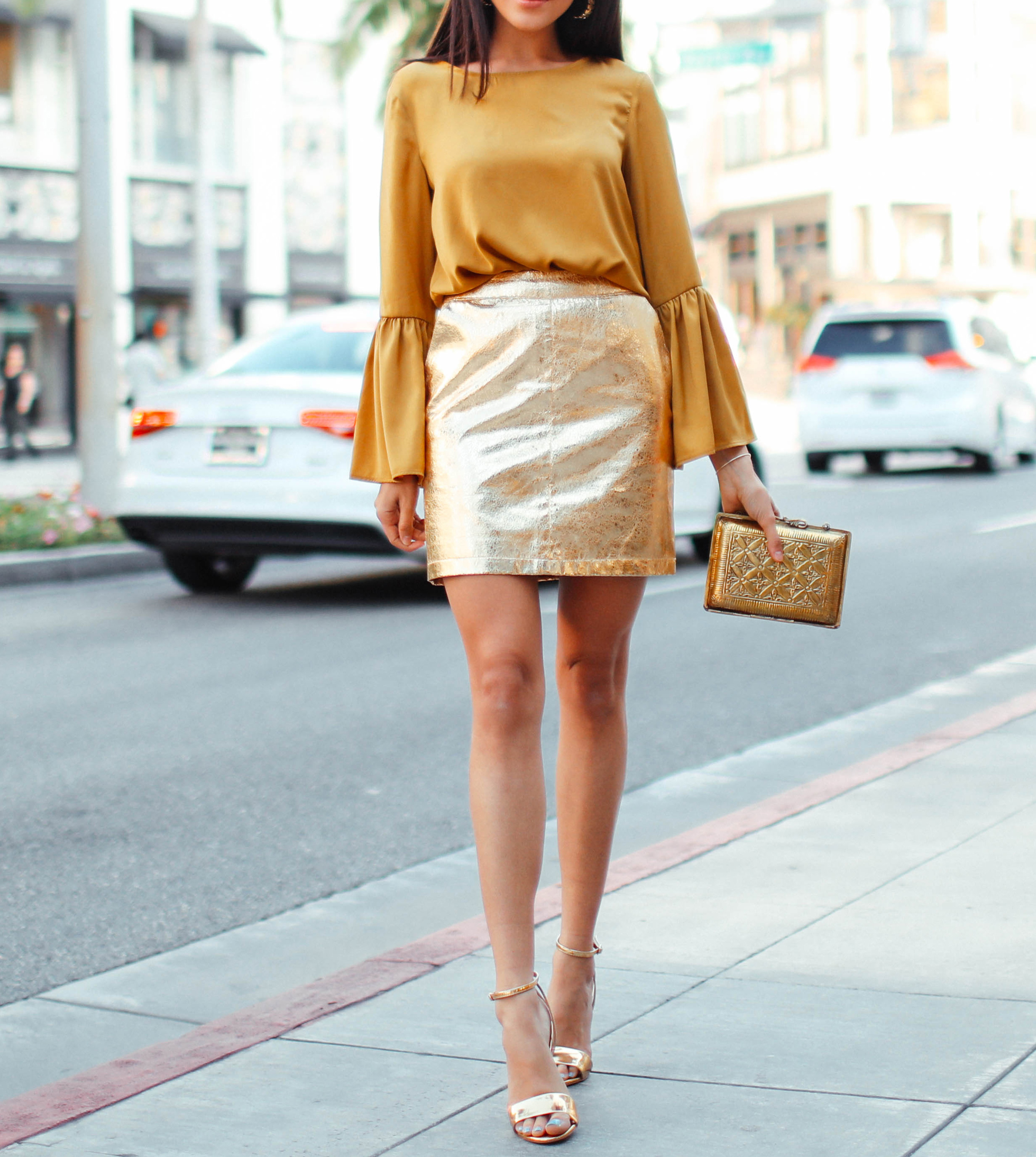 Holiday Outfit Ideas - Monochromatic Gold Outfit // Notjessfashion.com