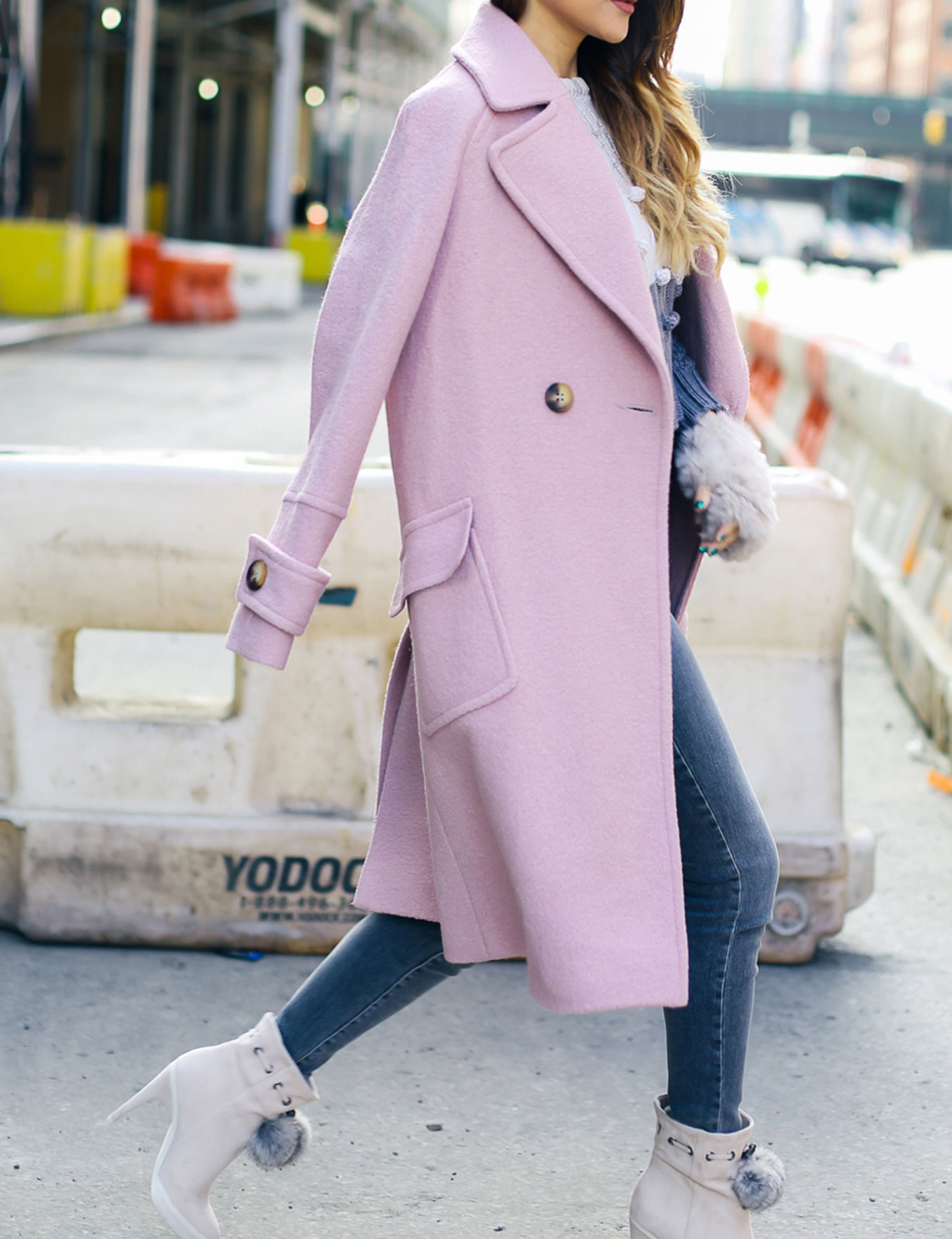Chic Colorful Coats - Pink Coat with White Fur Boots // Notjessfashion.com