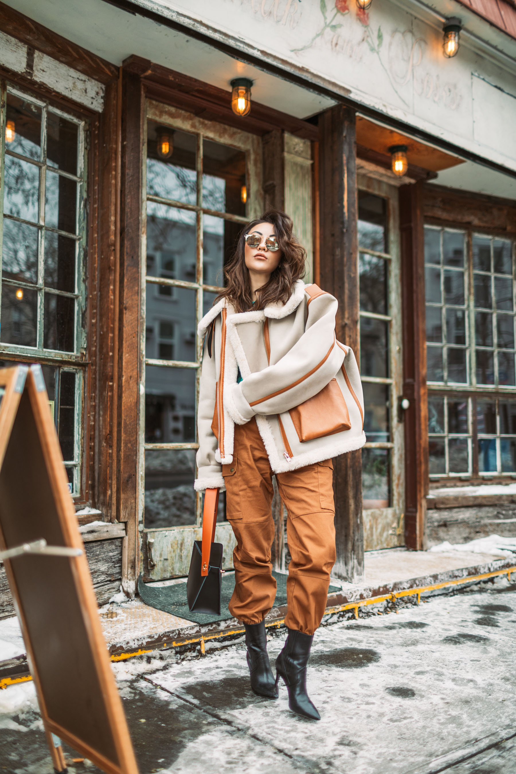 Instagram Outfits Round Up // Notjessfashion.com // Cozy Layered looks, jessica wang, fashion blogger, new york fashion blogger, street style fashion, ootd, mirrored sunglasses, aviator jacket, shearling jacket, trendy style, cozy winter look