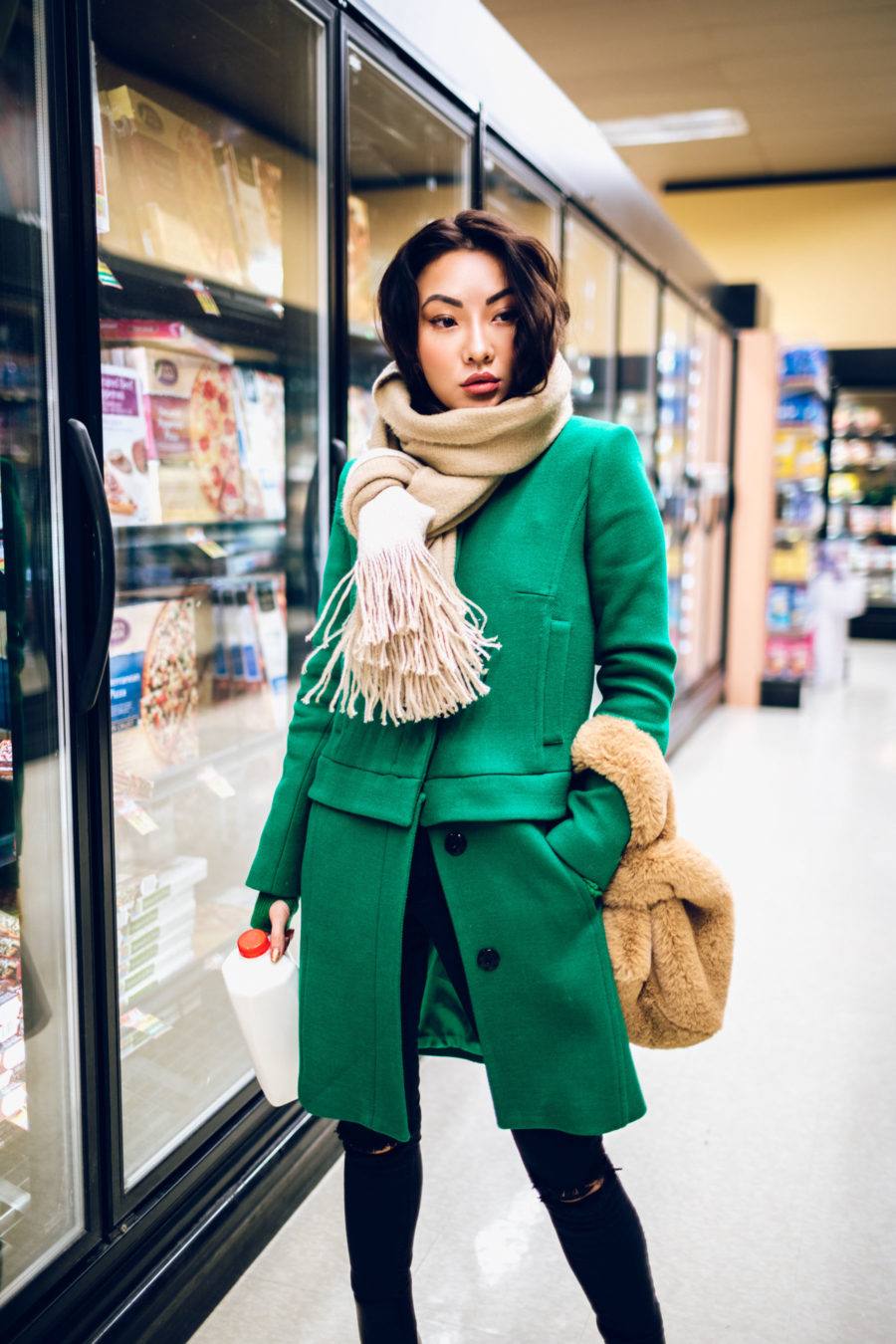 fashion blogger jessica wang wears green coat, chunky scarf and affordable accessories from Amazon // Jessica Wang - Notjessfashion.com