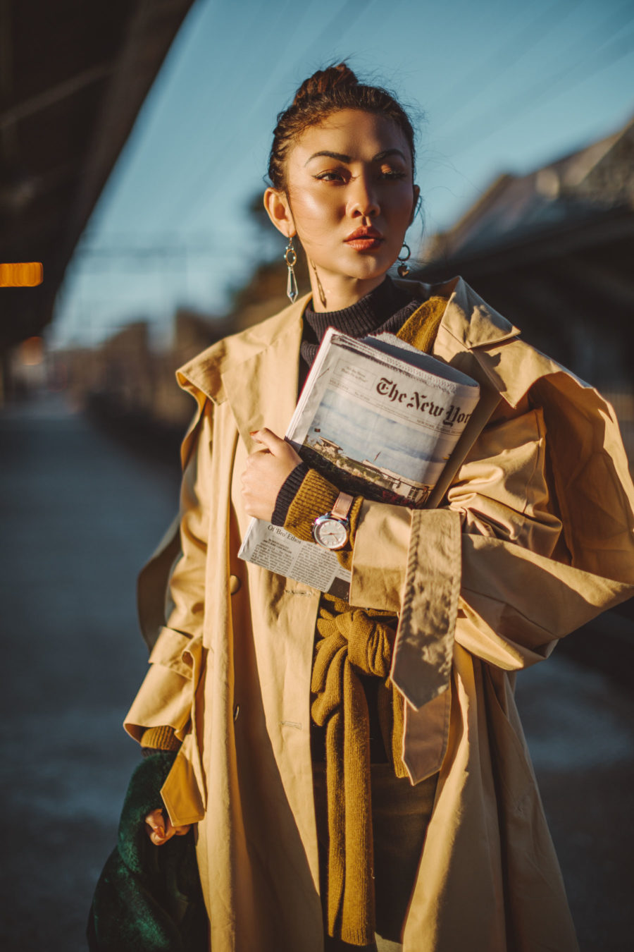 biggest blogging trends of 2019, Cozy Layered looks, jessica wang, fashion blogger, new york fashion blogger, street style fashion, ootd, asian blogger, oversized trench coat, leather band watch, layered style // Notjessfashion.com