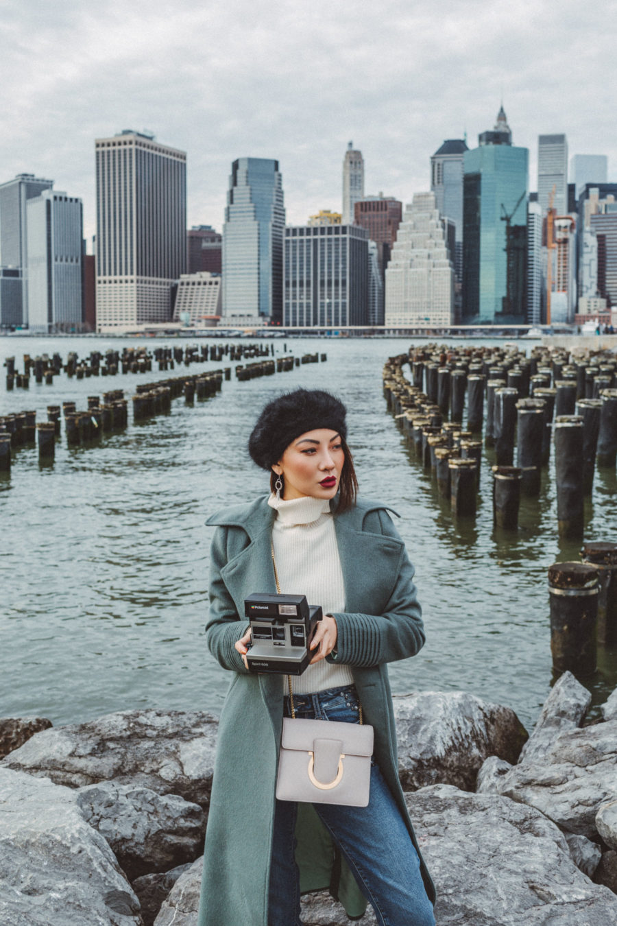 Cozy Layered looks, seafoam green coat, fashion blogger, new york fashion blogger, street style fashion, ootd, asian blogger, parisian chic outfit, beret outfit, how to wear a beret, beret styling, chic winter style, new york fashion // Notjessfashion.com