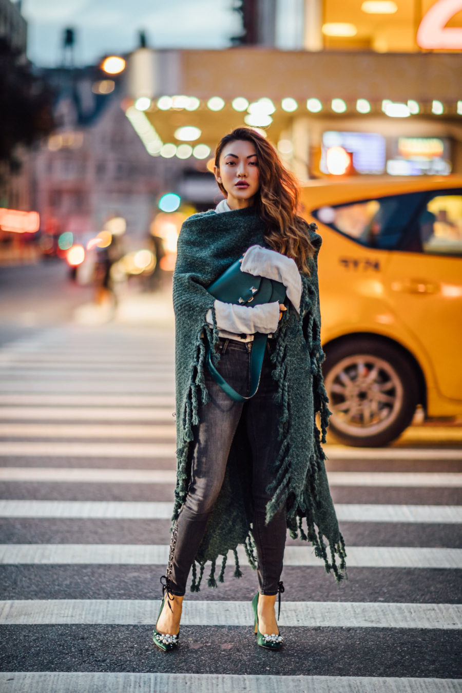 cozy chic items, fringe poncho, blanket scarf, Fringe Kimono, Lace up jeans, embellished pumps, Jessica wang, winter outfits, stylish winter outfit, fashion blogger, street style, winter street style, green satin pumps, nine west heels, fringe details, asian blogger, salar bag, green outfits // Notjessfashion