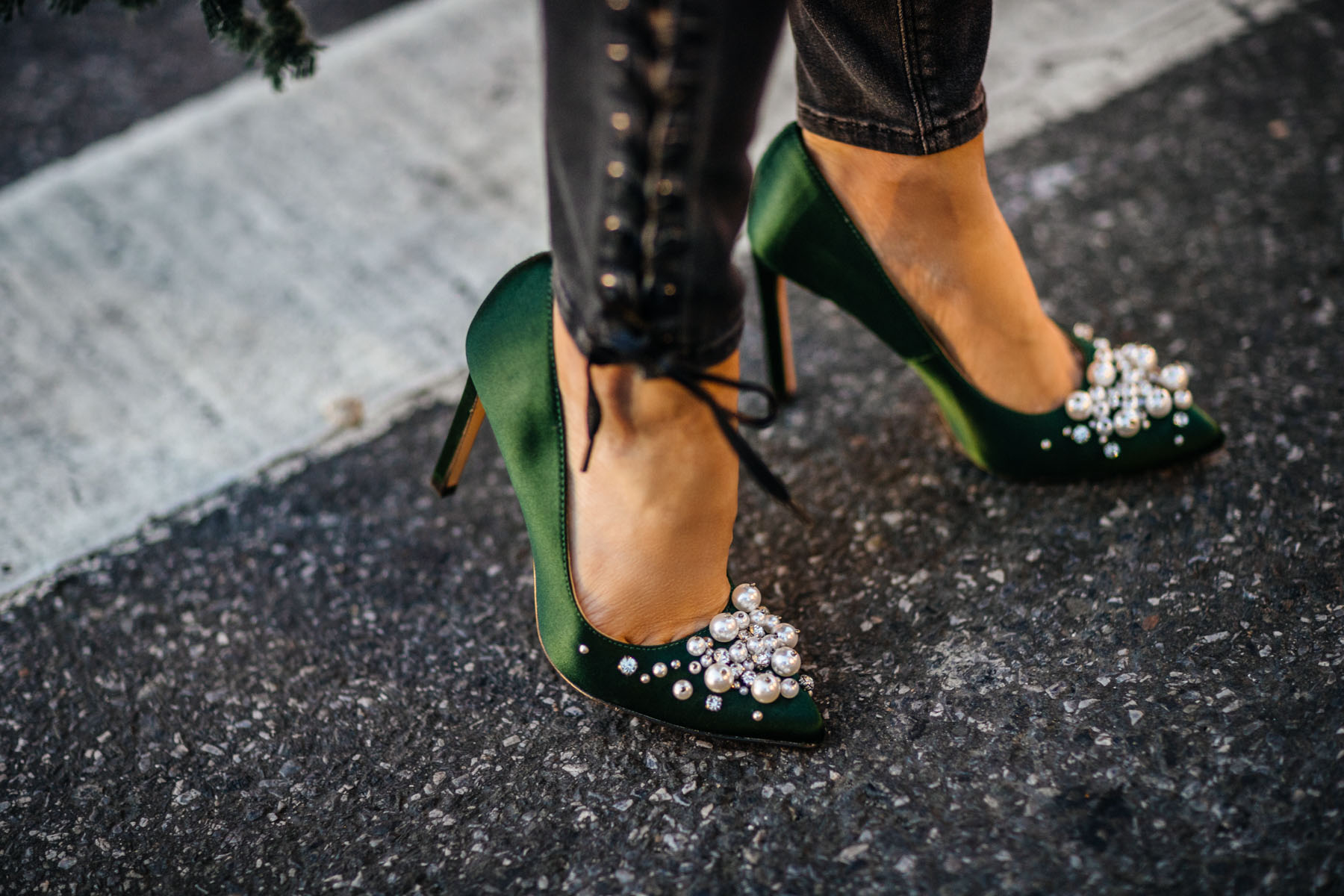 Fashion Details to Elevate Your Favorite Basics - green satin pumps, satin heels, embellished pumps // Notjessfashion // Jessica wang, winter outfits, stylish winter outfit, fashion blogger, street style, winter street style, green satin pumps, nine west heels, fringe details, asian blogger, salar bag, green outfits, shoe trends