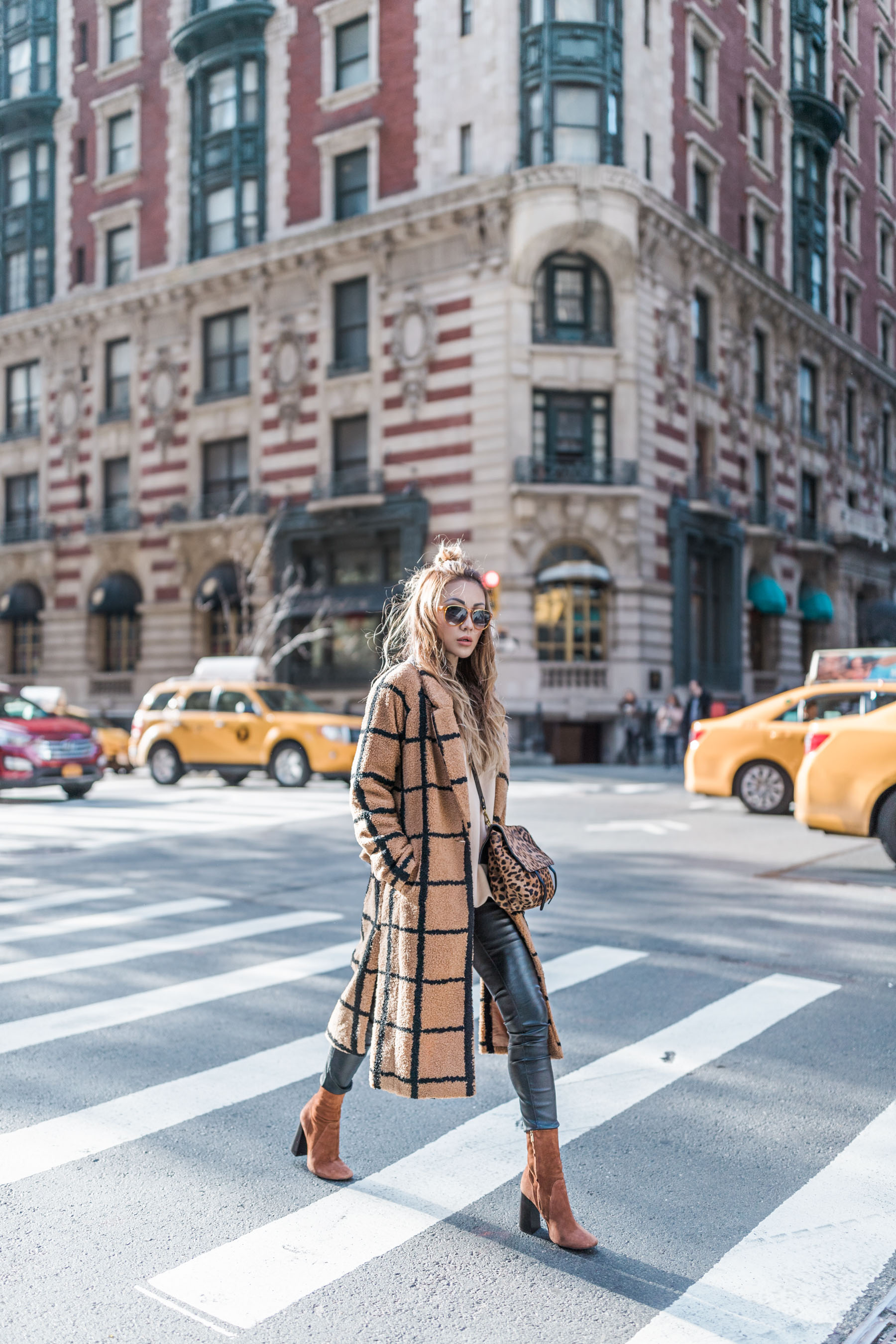 Essential Photography Tips for New Bloggers - Teddy Coat, Leather Pants, and Leopard Bag // Notjessfashion.com // new york fashion blogger, street style outfit, fashion blogger street style, plaid teddy coat, leopard print, leather leggings, brown ankle boots, suede booties, urban style, minimal fashion, winter outfit, fall outfit, cozy outfit, edgy style, asian blogger, jessica wang, new york outfits
