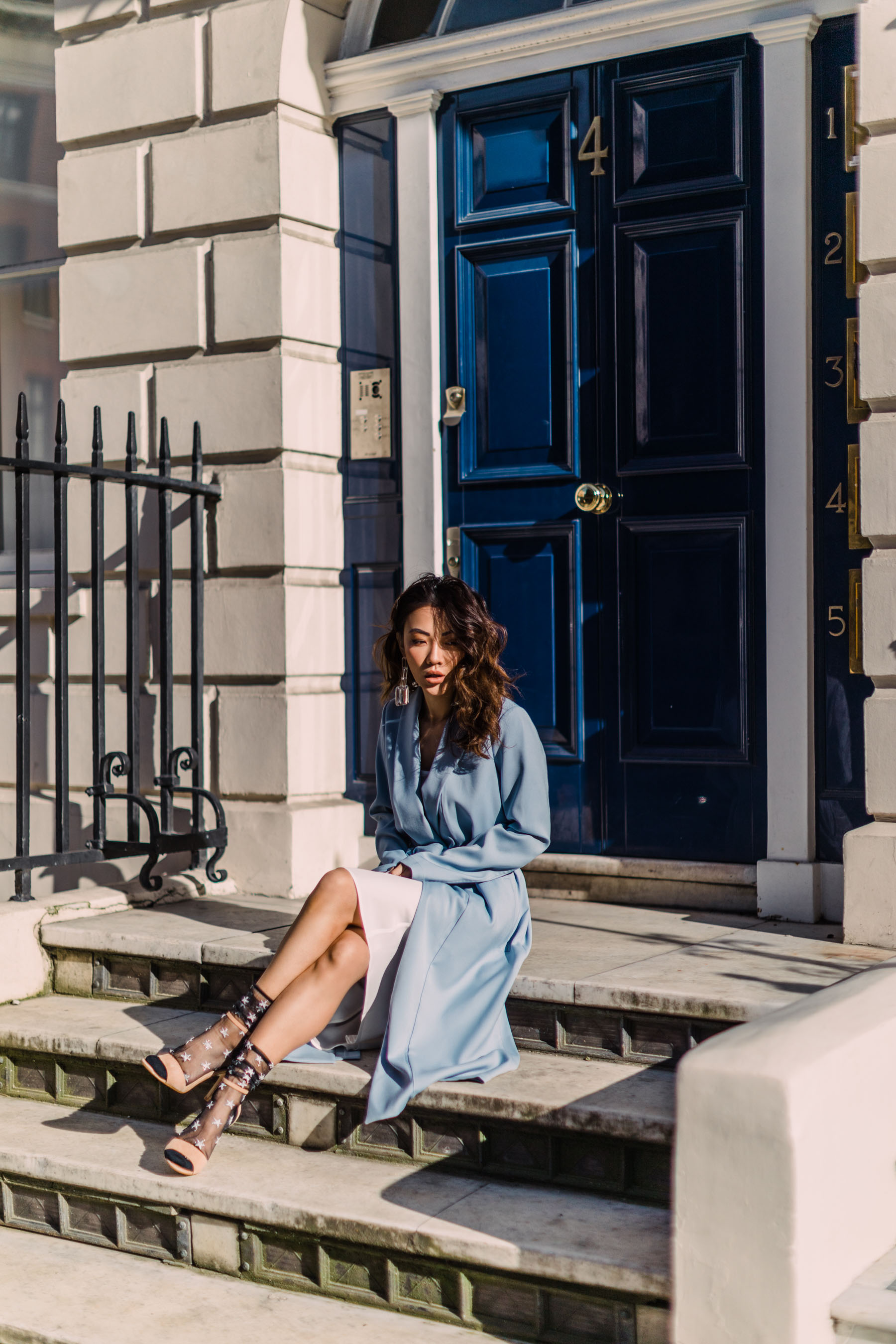Transition Your Wardrobe into Spring - DSW Nude heels, blue trench coat, socks with sandals, nude heels, nude sandals, minimalist heels, ankle strap heels // Notjessfashion.com