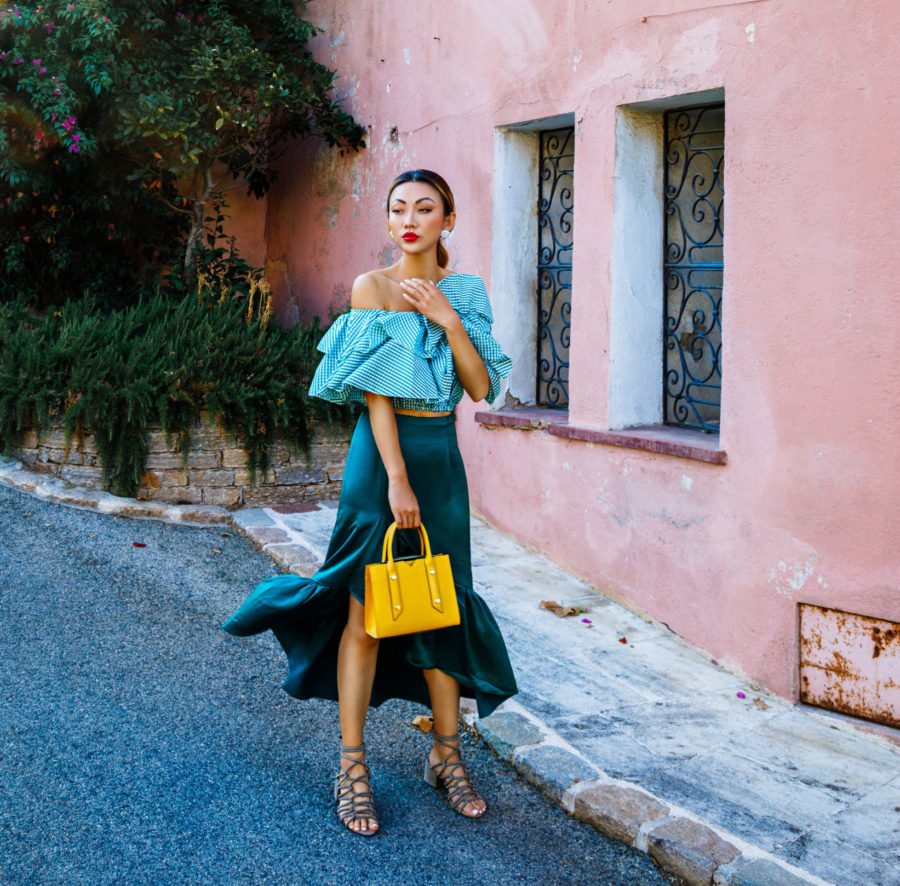 Shopbop Sale Alert - The Best Spring and Summer Items To Buy, Off The Shoulder Puffy Sleeve Top, Italy Travel Style, Spring Outfit Ideas, Laced Up Sandals, Yellow Botkier Handbag, Jessica Wang // NotJessFashion.com