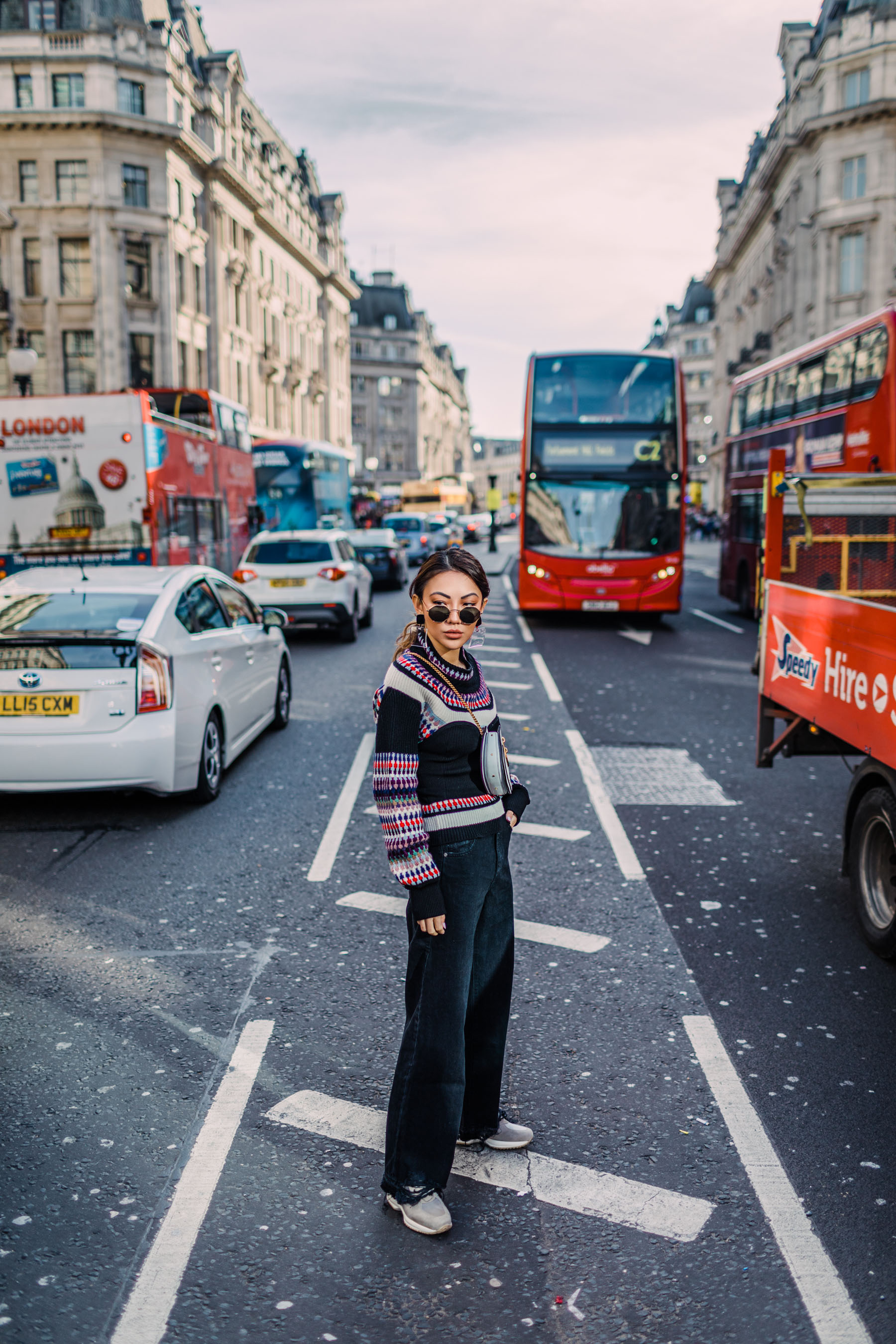 London Fashion Week Recap - Burberry Intarsia Sweater, Wide Leg Raw Hem Jeans // Notjessfashion.com