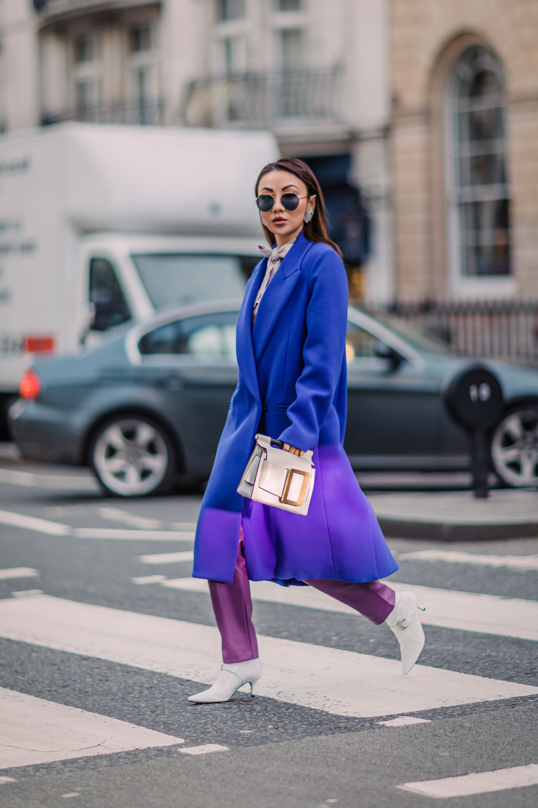 2018 Fashion Trends - bold color trend, color blocking trend, cobalt blue coat // Notjessfashion.com