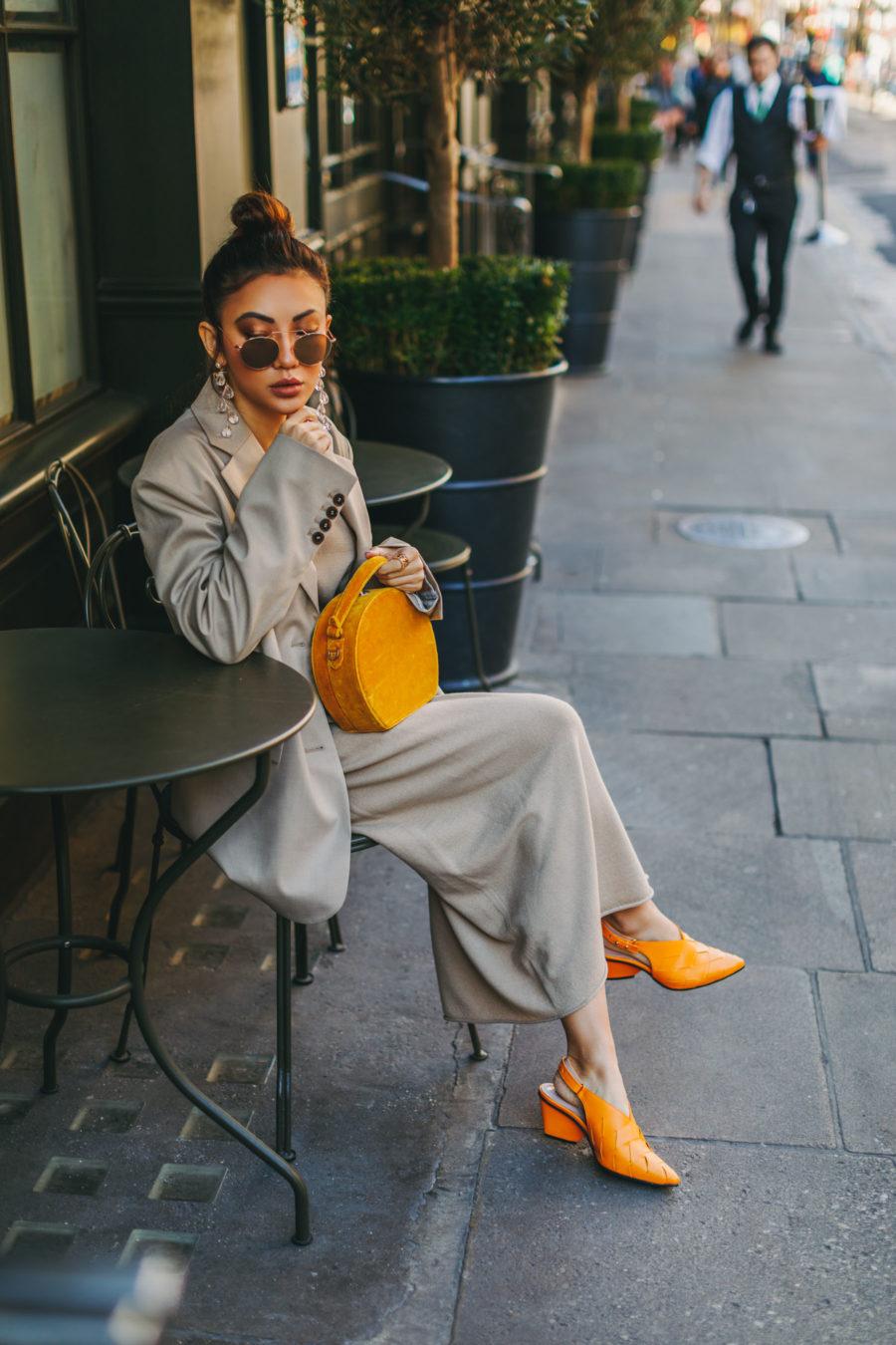 beige outfits, knit dress and oversized blazer, regina pyo heels // Notjessfashion.com
