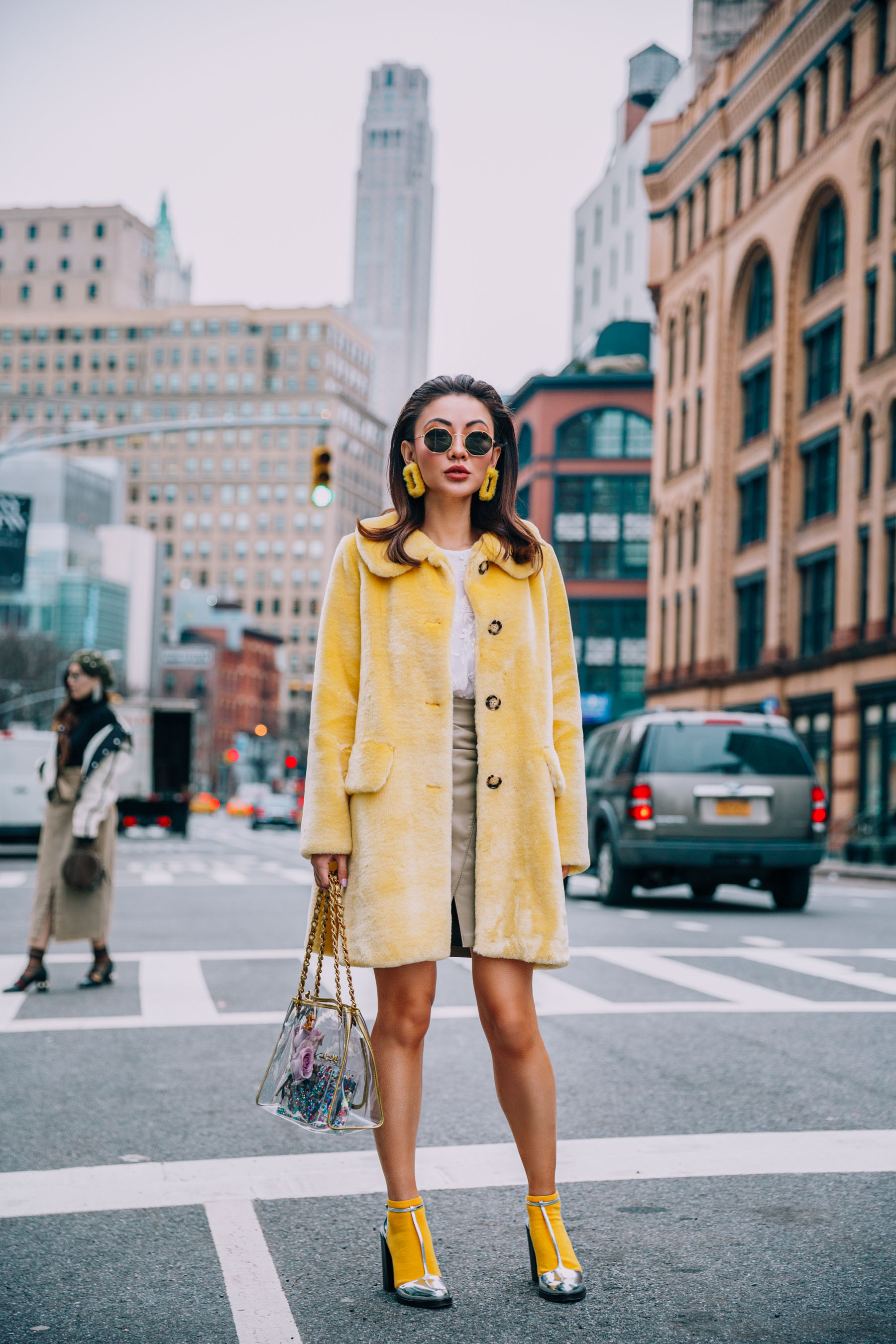 NYFW 2018 Street Style - Yellow Shrimps Coat with Chanel Clear Bag // Notjessfashion.com
