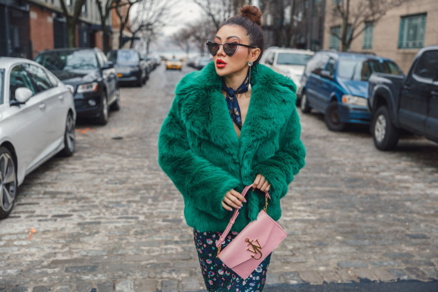 fashion blogger jessica wang wears green faux fur coat and heart shaped sunglasses at nyfw // Notjessfashion.com