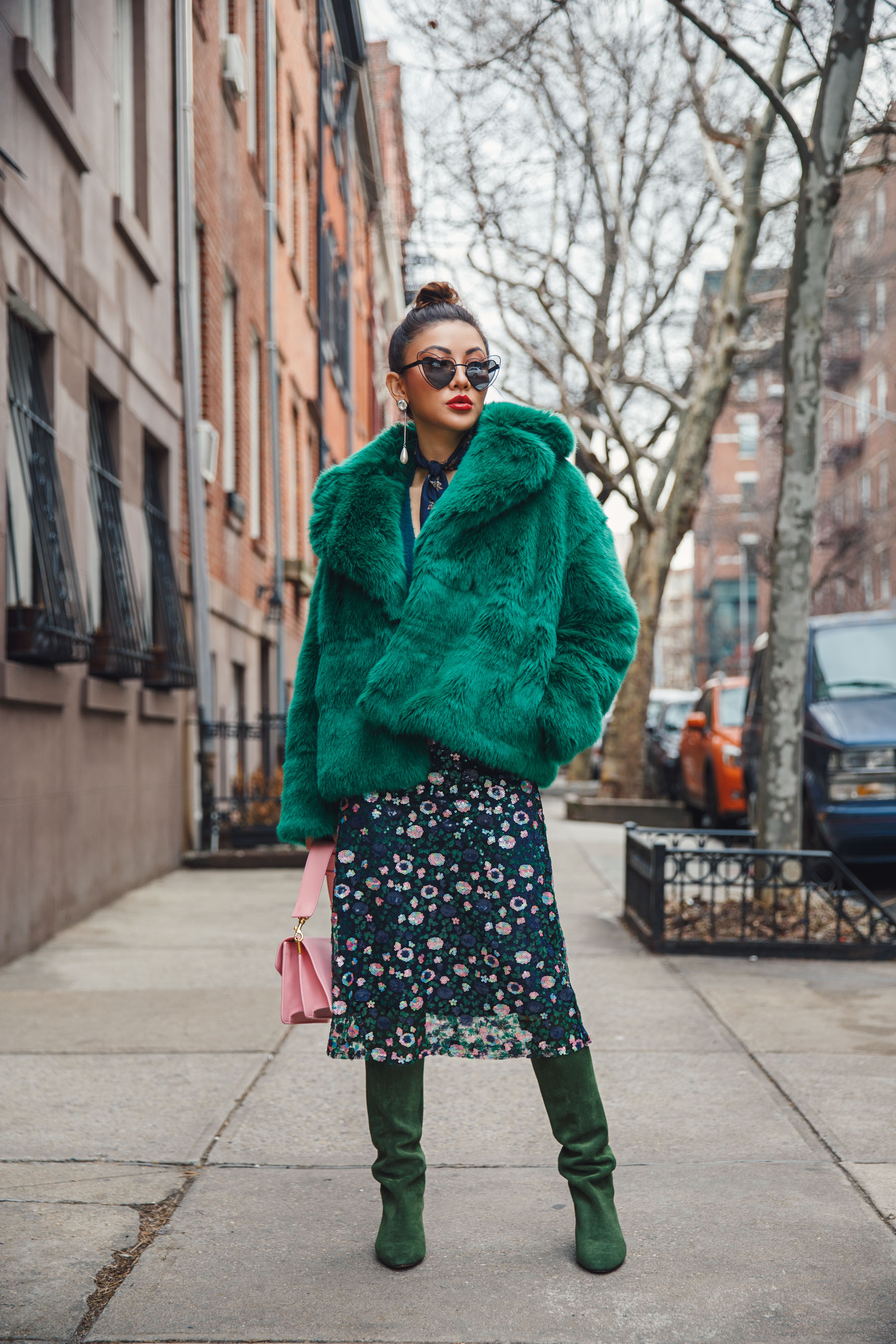 NYFW 2018 - Green Fur Coat, Monochromatic Green Look // Notjessfashion.com