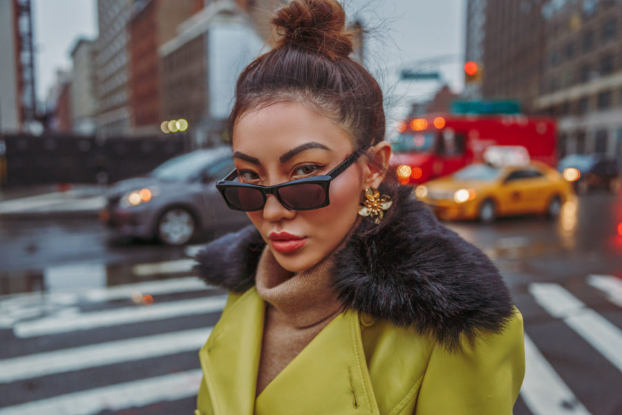 5 Must-Have Sunglasses Every It-Girl Is Wearing Now - Tiny Sunglasses Trend, Yellow Leather Jacket, How To Wear Small Sunglasses, Black Tiny Glasses, Jessica Wang // NotJessFashion.com