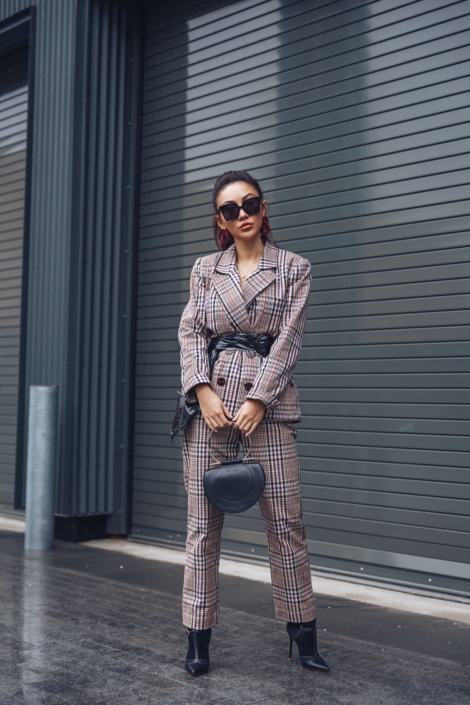 NYFW Day 4 - NotJessFashion going to Tibi Show // Notjessfashion.com // Plaid Suit with Leather Belt