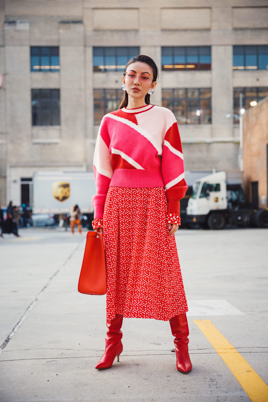 Outdated Fashion Rules You Should Break, nyc winter style, red & pink outfit // Notjessfashion.com