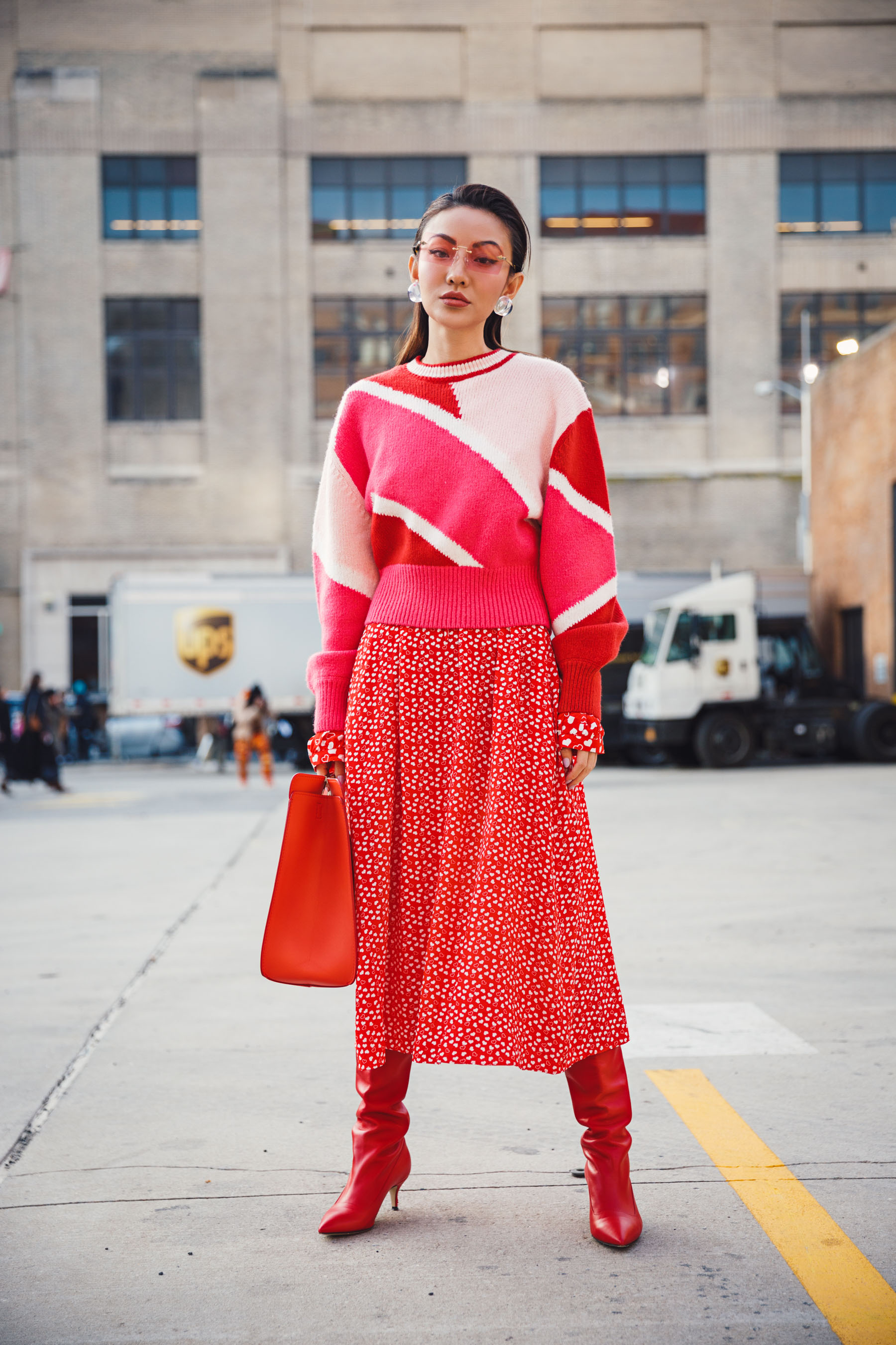 NYFW Day 5 Street Style // Notjessfashion.com // Pink and red outfit