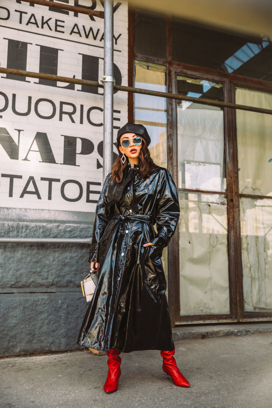 What to wear with knee high boots isabel marant vinyl trench coat, paul andrew boots, fendi sunglasses, boyy handbag, knee high boots, NYFW AW18 street style // Notjessfashion.com