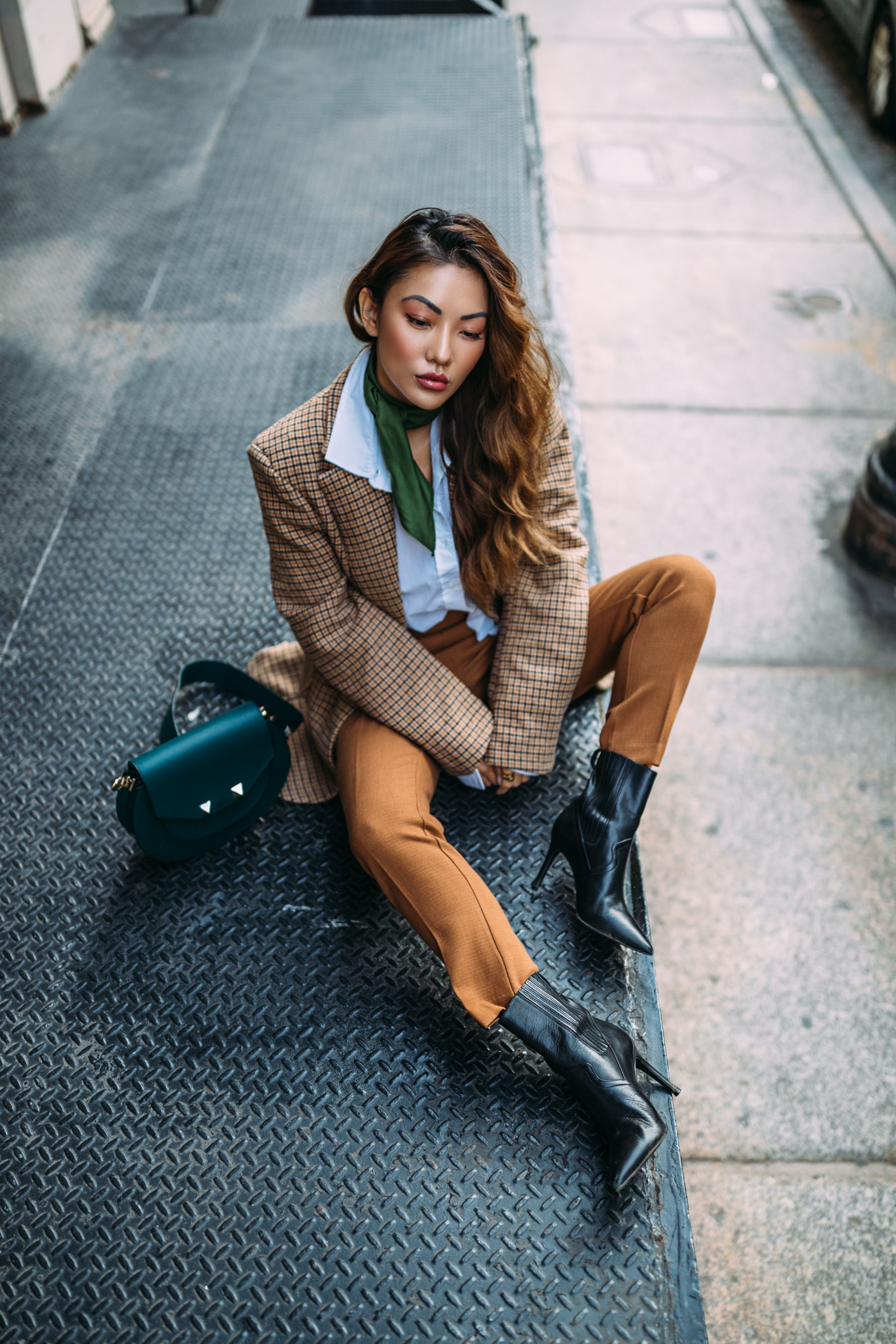 5 Ways to Pull Off Menswear-Inspired Outfits // Notjessfashion.com // NYC fashion blogger, top fashion blogger, asian blogger, oversized blazer, plaid blazer, menswear inspired fashion, jessica wang, green accessories, fashion blogger street style