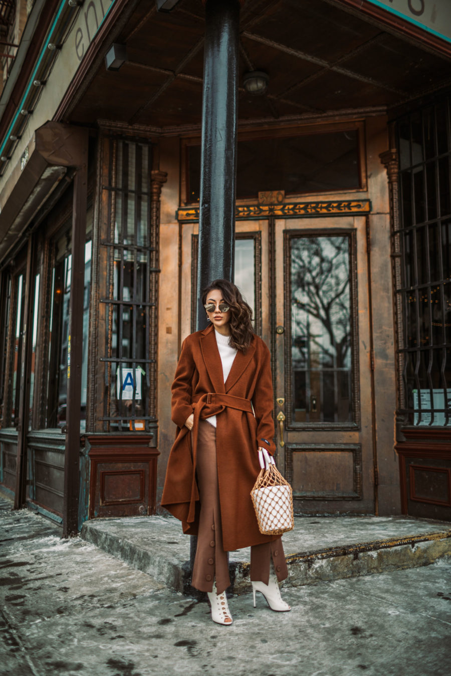 Winter wardrobe essentials - staud macrame bag, brown button trousers, wrap coat, robe coat, chic winter outfit, new york fashion blogger, aviator sunglasses, brown monochromatic outfit // Notjessfashion.com