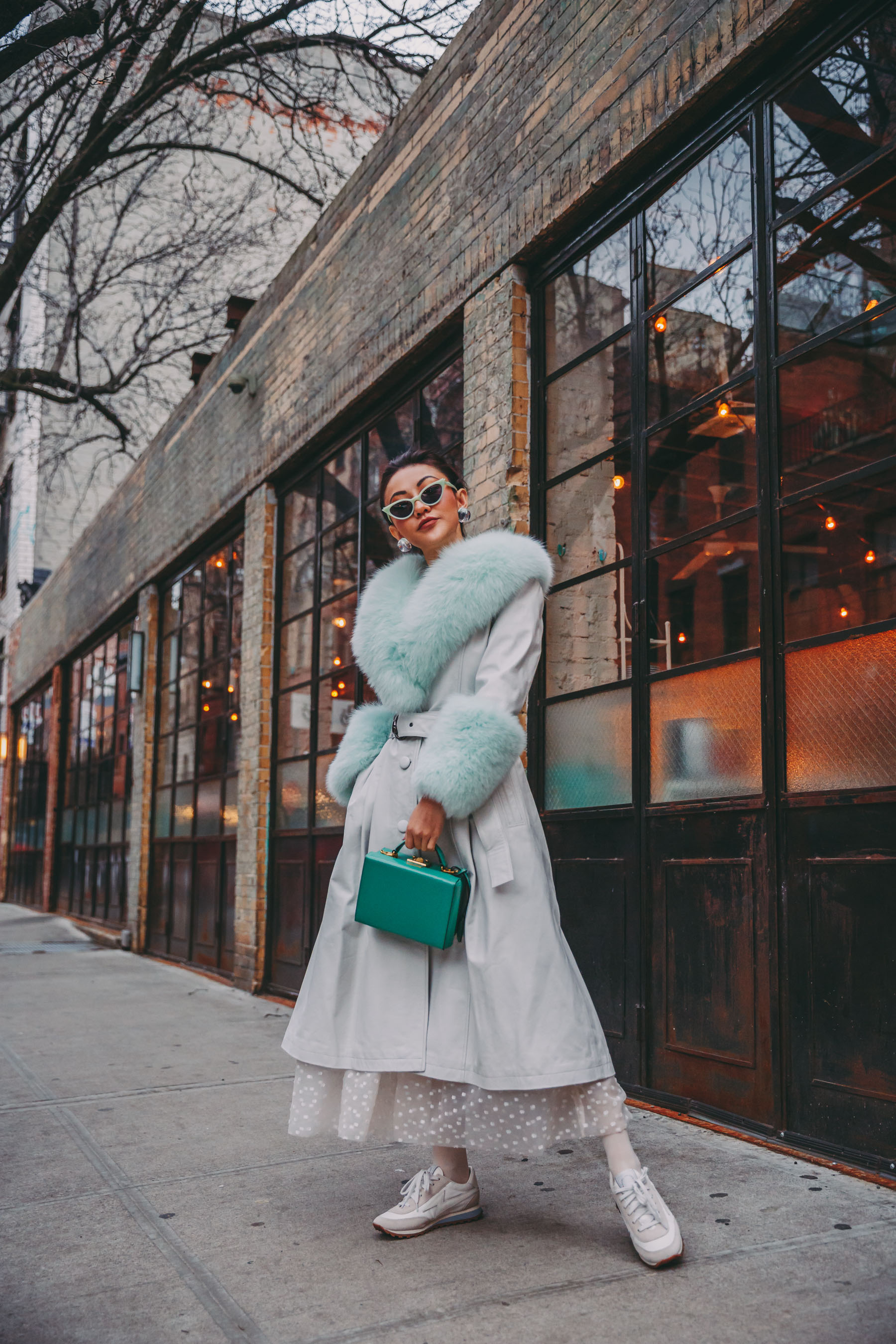 How to Wear Pastel in the winter -  Mint fur coat, belted fur coat, nyfw street style// Notjessfashion.com