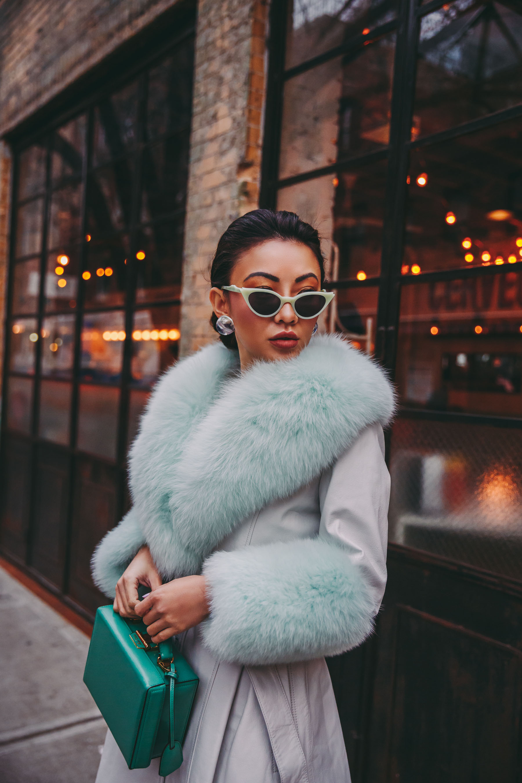 How to Wear Pastel in the winter - Mint fur coat, belted fur coat, nyfw street style // Notjessfashion.com