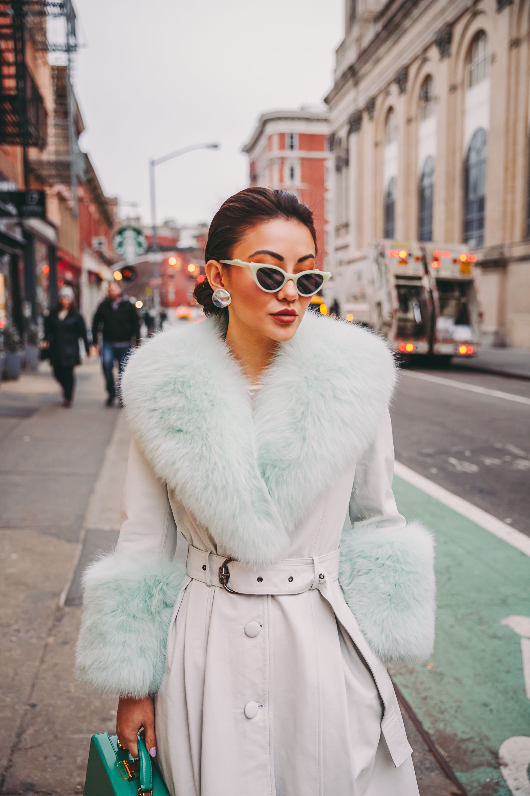 How to Wear Pastel in the winter - Mint fur coat, belted fur coat, nyfw street style, green sunglasses // Notjessfashion.com
