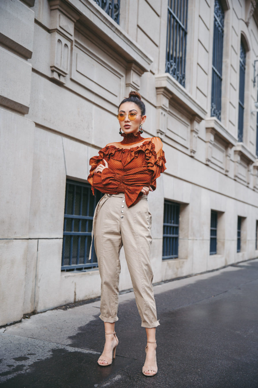 Orange Ruffle Shirt, Spring Outfits Ideas // NotJessFashion.com