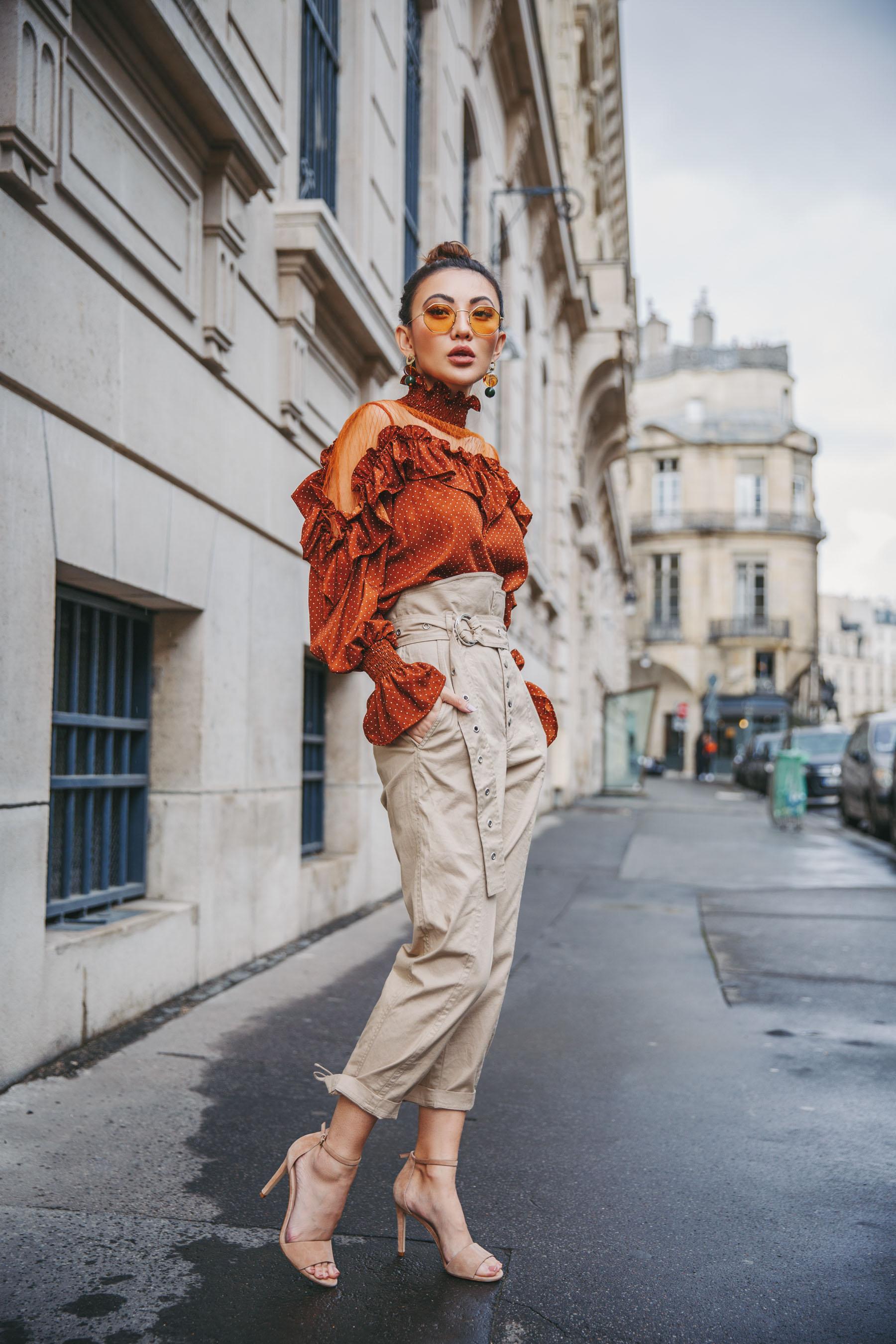trending Prints to Wear in 2018 - red sheer polka dot shirt // Notjessfashion.com