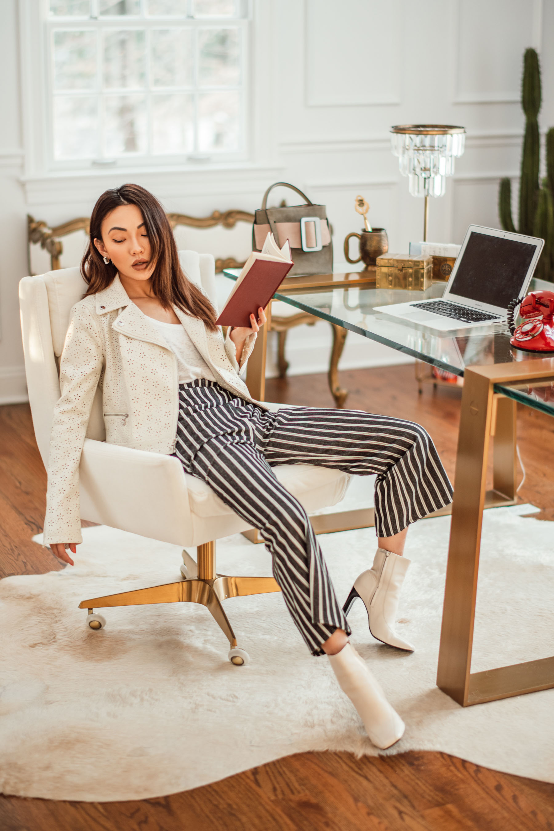 Work Wear Trends for an Ultra Chic Look - Express leather jacket, Express striped trousers, white ankle boots, professional spring outfit, professional office look // Notjessfashion.com